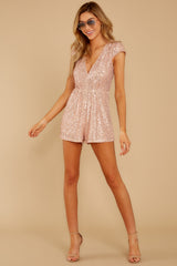3 Night Life Rose Gold Sequin Romper at reddressboutique.com