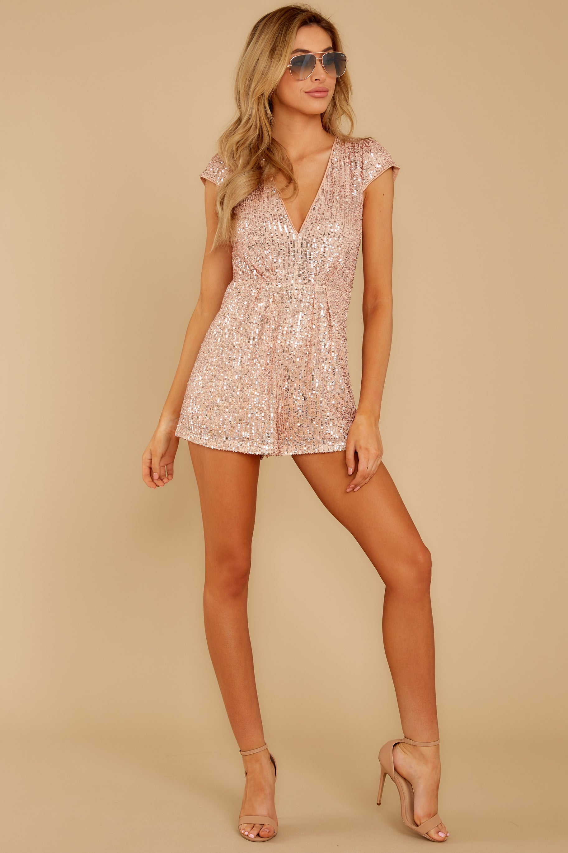 4 Night Life Rose Gold Sequin Romper at reddressboutique.com