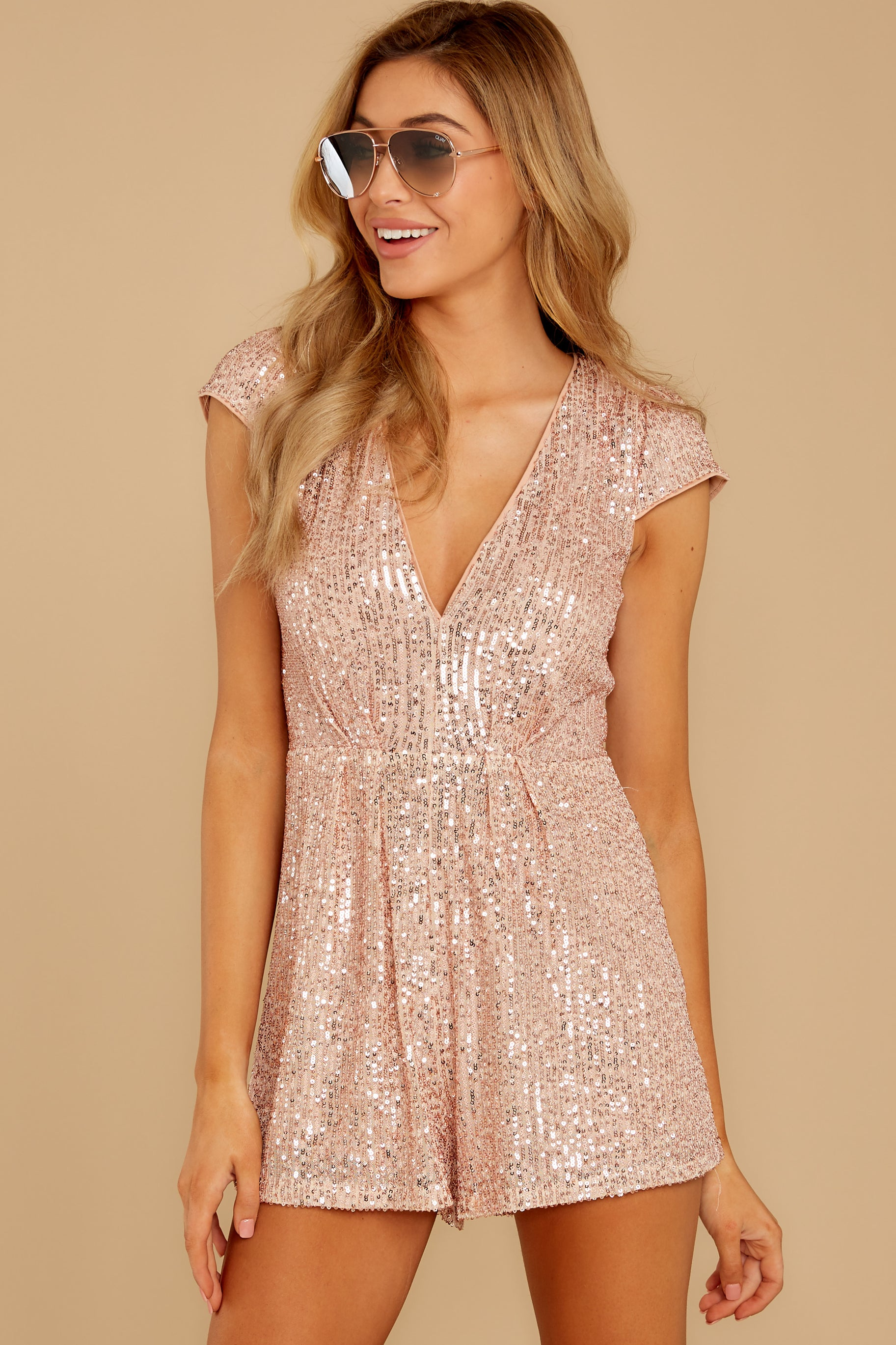 5 Night Life Rose Gold Sequin Romper at reddressboutique.com