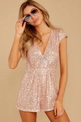 6 Night Life Rose Gold Sequin Romper at reddressboutique.com