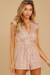 7 Night Life Rose Gold Sequin Romper at reddressboutique.com