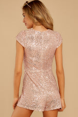 8 Night Life Rose Gold Sequin Romper at reddressboutique.com