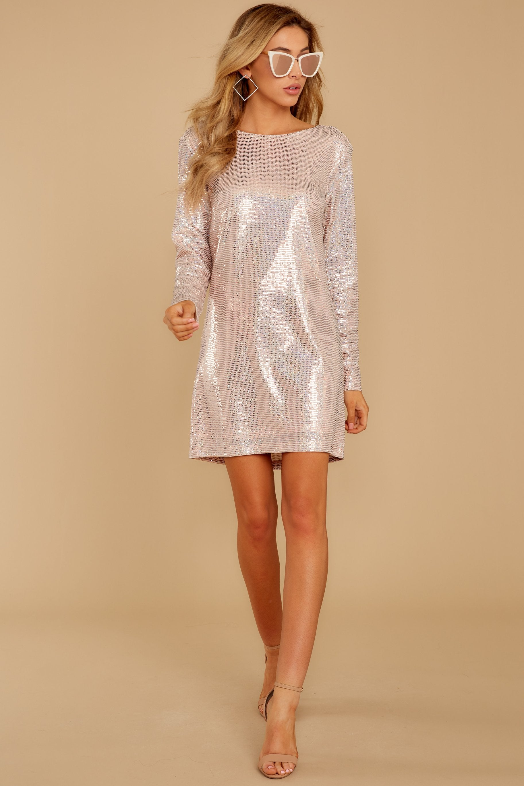 3 Sweet Feeling Pink Sequin Dress at reddressboutique.com