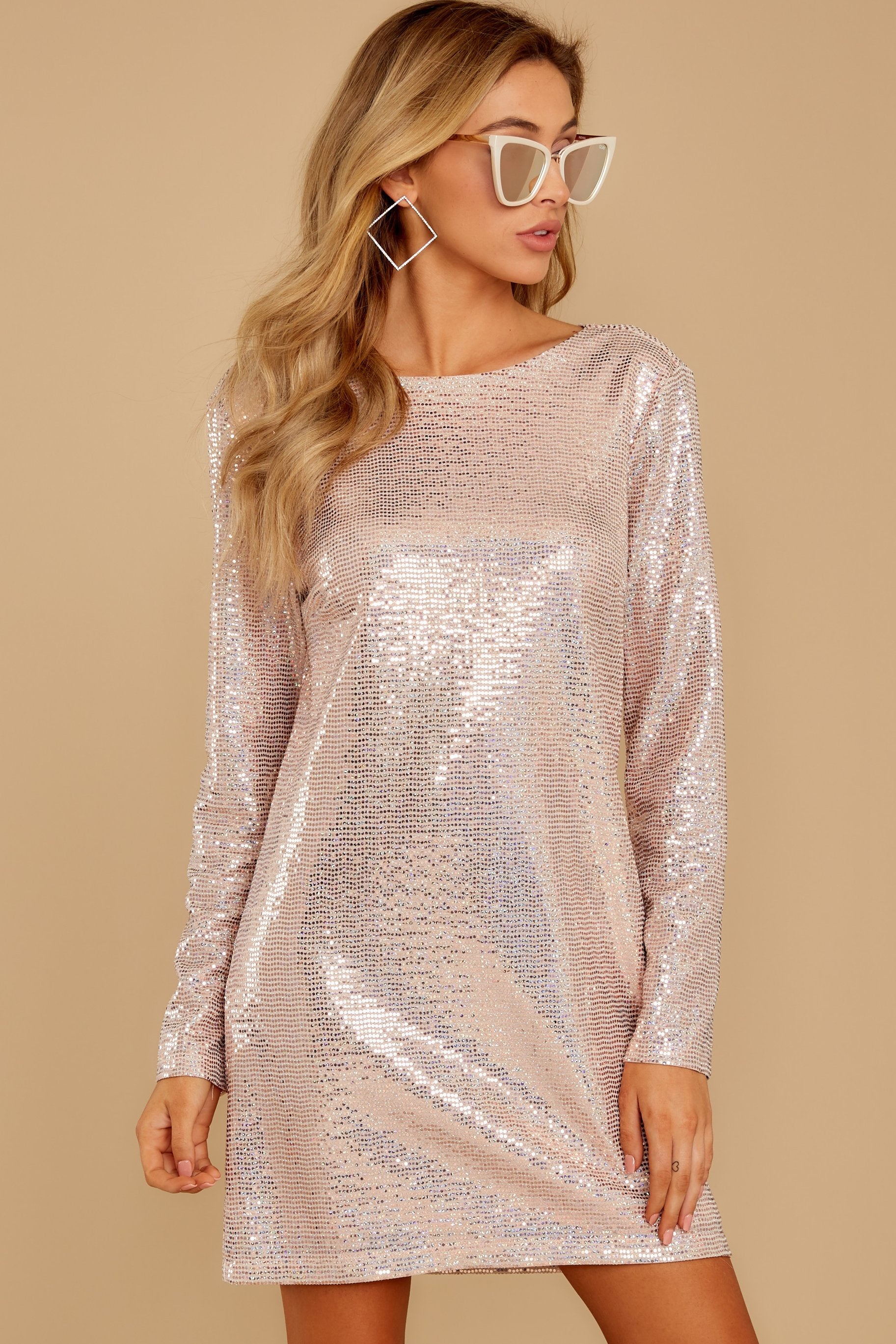 6 Sweet Feeling Pink Sequin Dress at reddressboutique.com