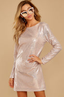 Tall Sequined Draped Long Sleeves Fall Straight Neck Dress