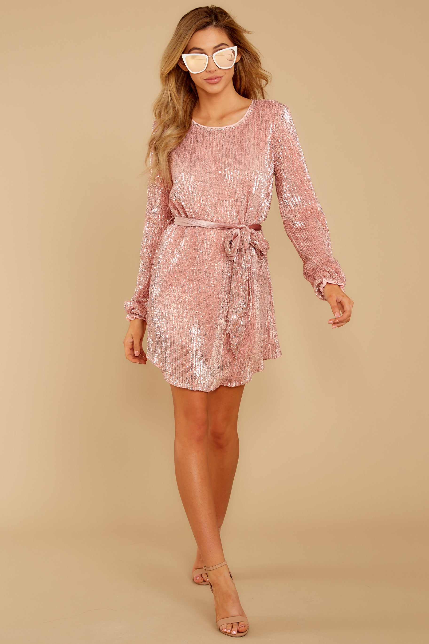 2 Raise A Glass Rose Pink Sequin Dress at reddressboutique.com