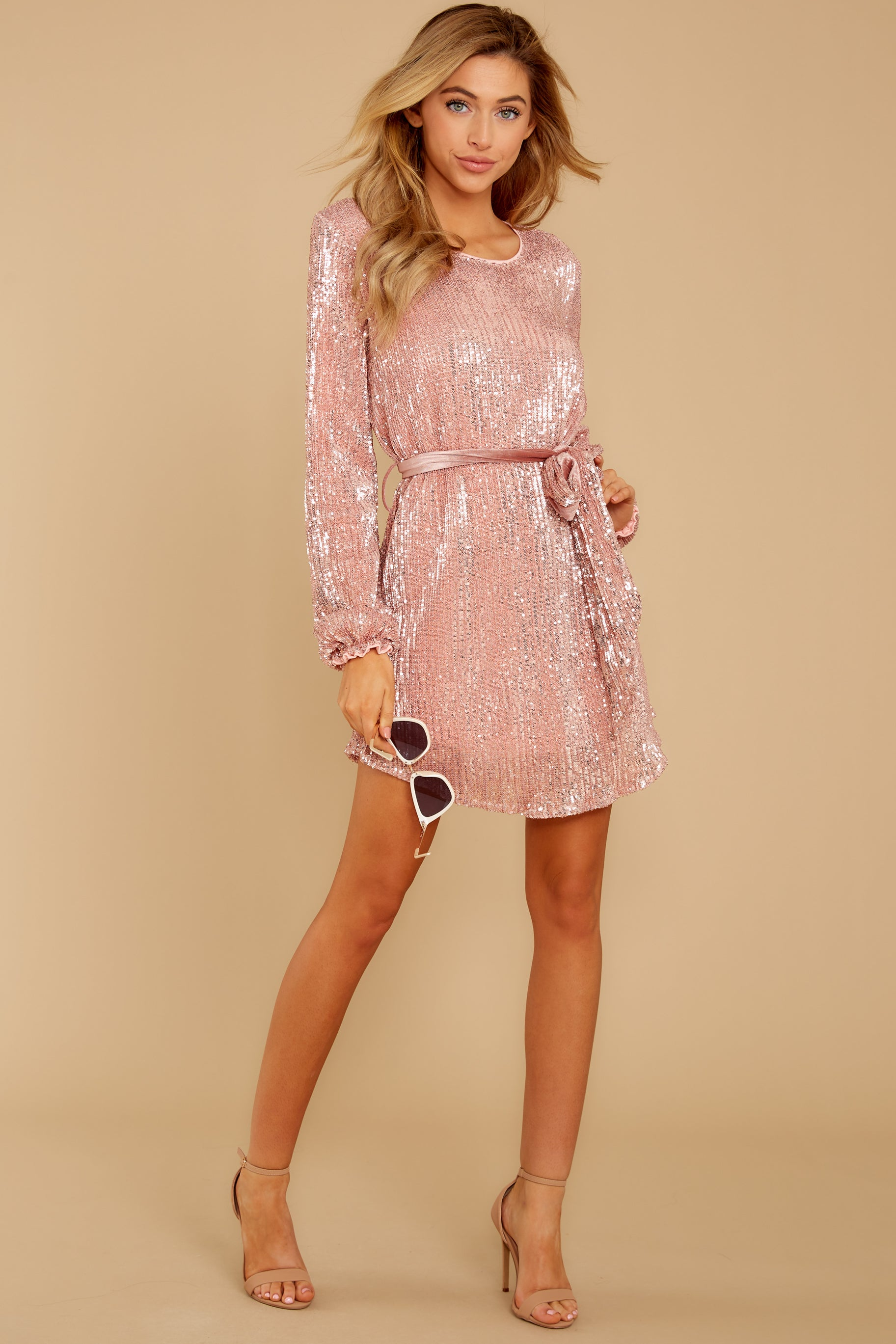 3 Raise A Glass Rose Pink Sequin Dress at reddressboutique.com