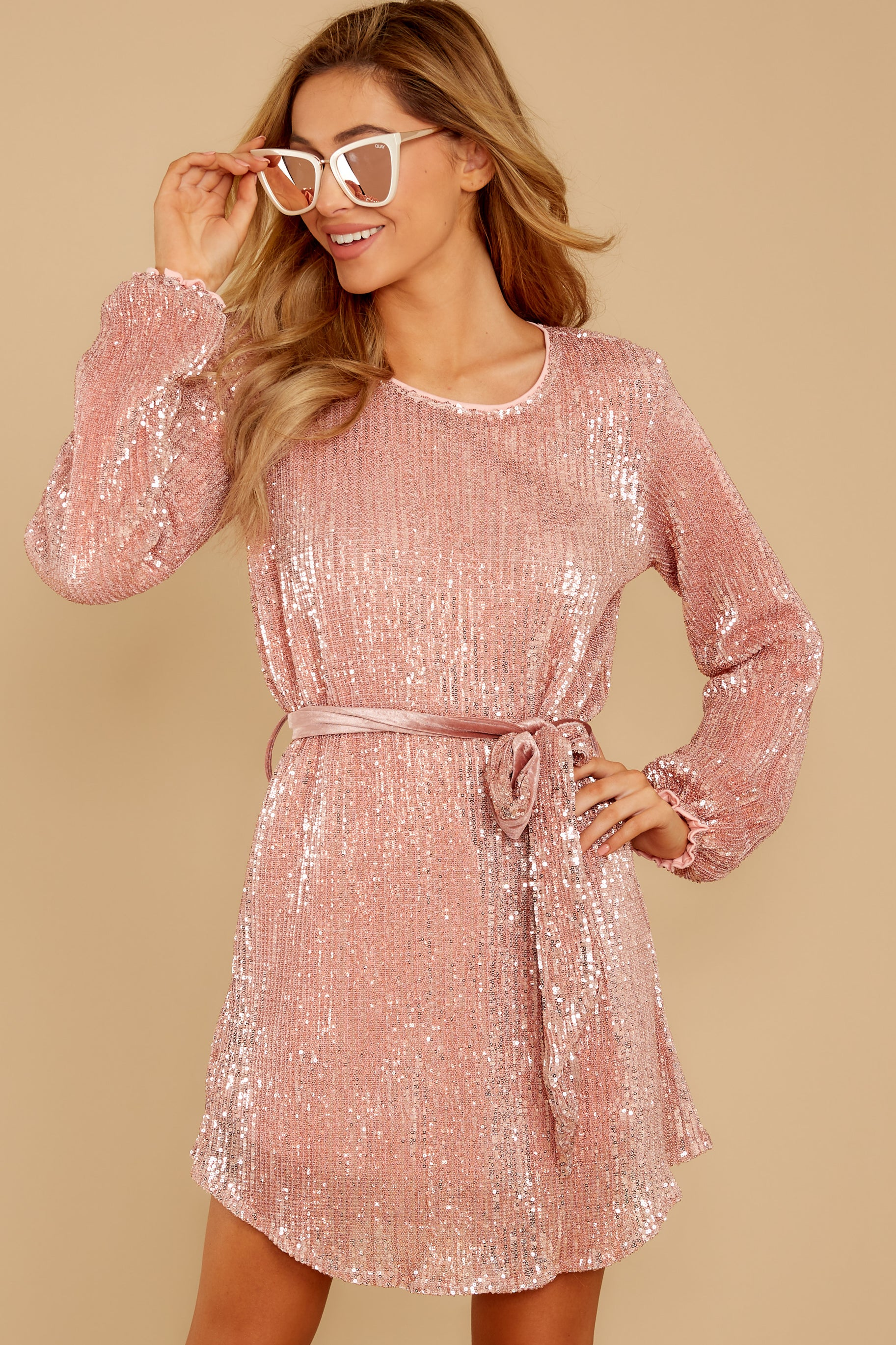 8 Raise A Glass Rose Pink Sequin Dress at reddressboutique.com