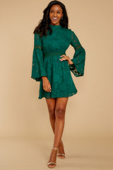 3 Love You More Emerald Green Lace Dress at reddressboutique.com