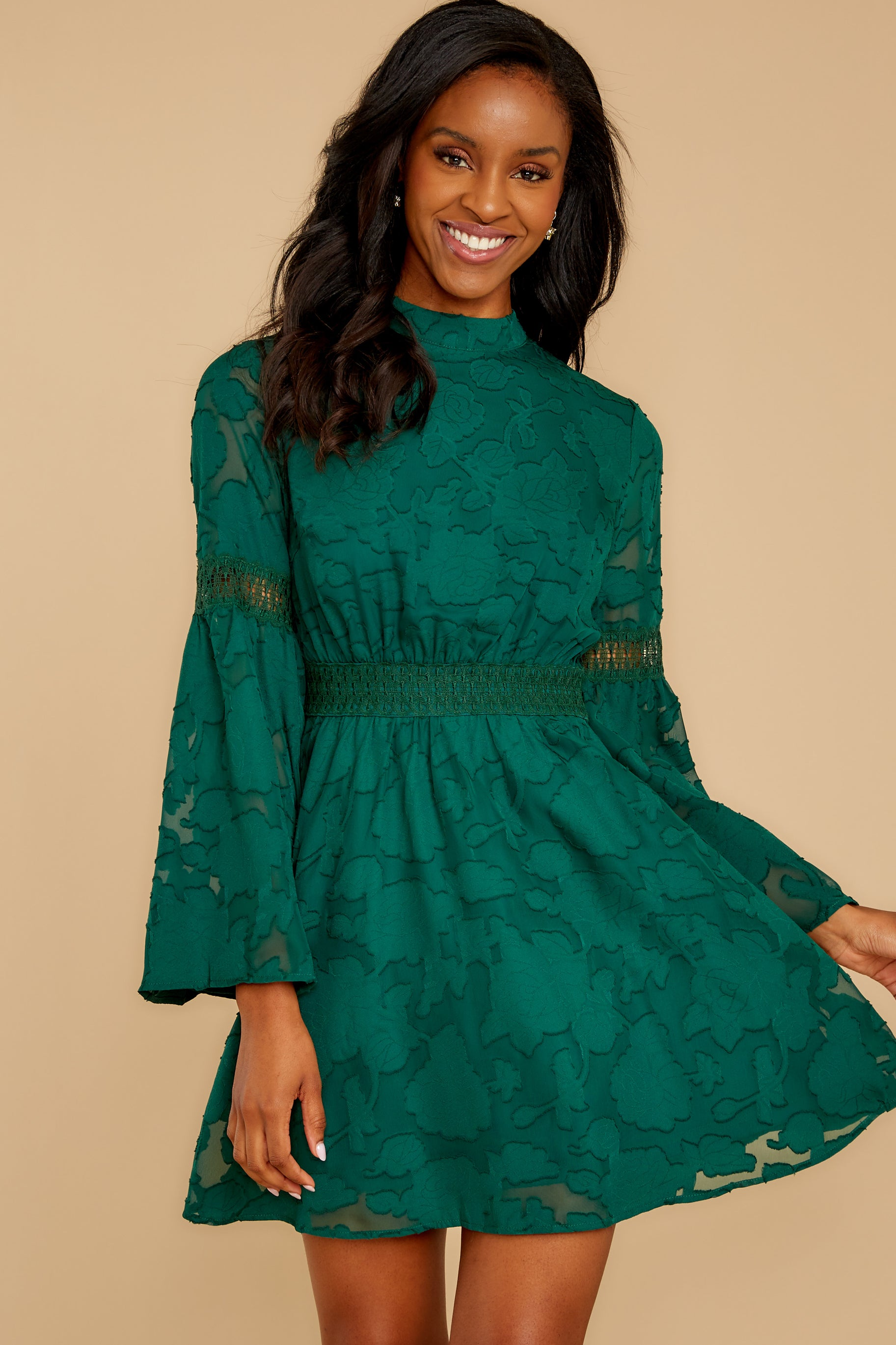 4 Love You More Emerald Green Lace Dress at reddressboutique.com