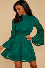 5 Love You More Emerald Green Lace Dress at reddressboutique.com