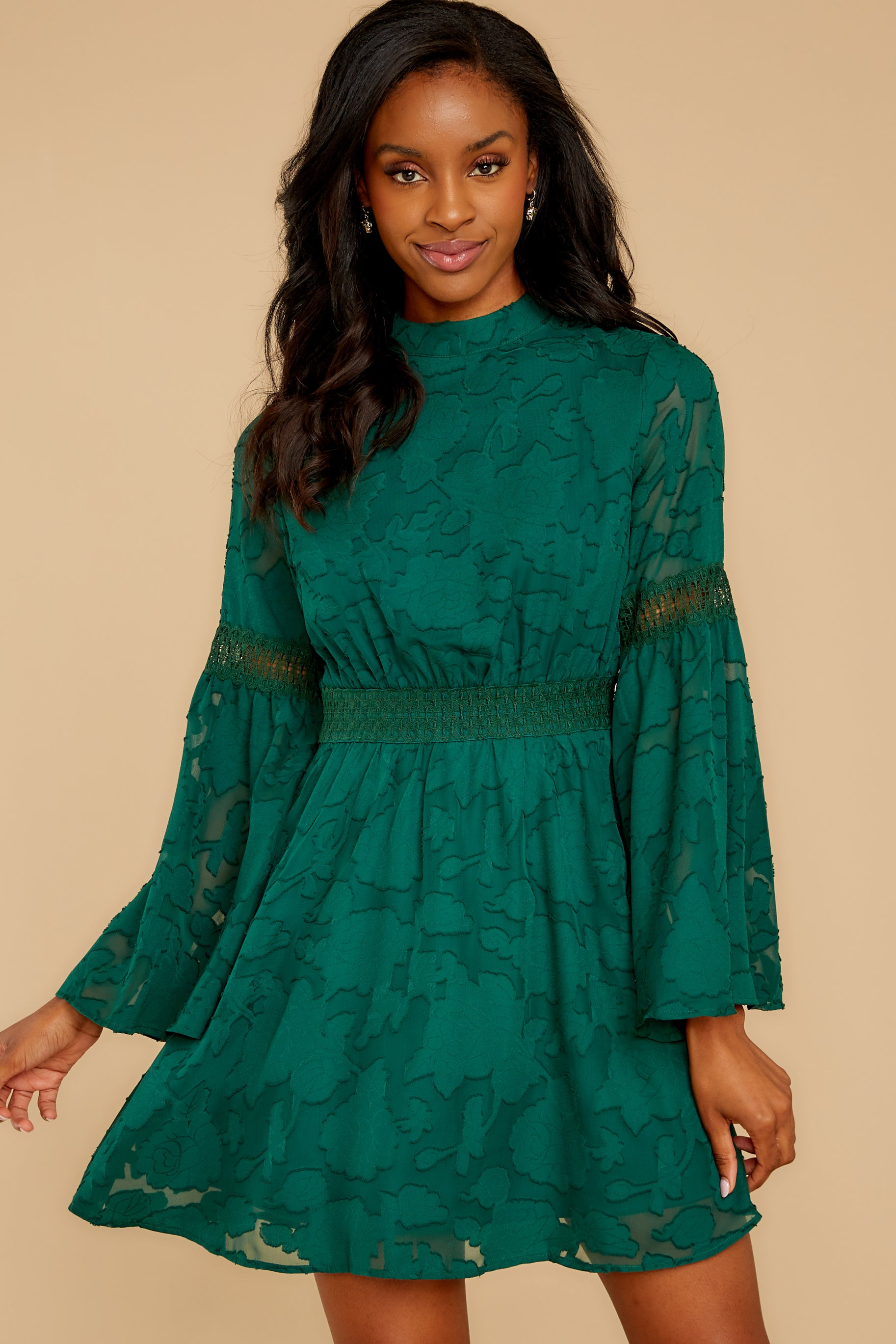 6 Love You More Emerald Green Lace Dress at reddressboutique.com