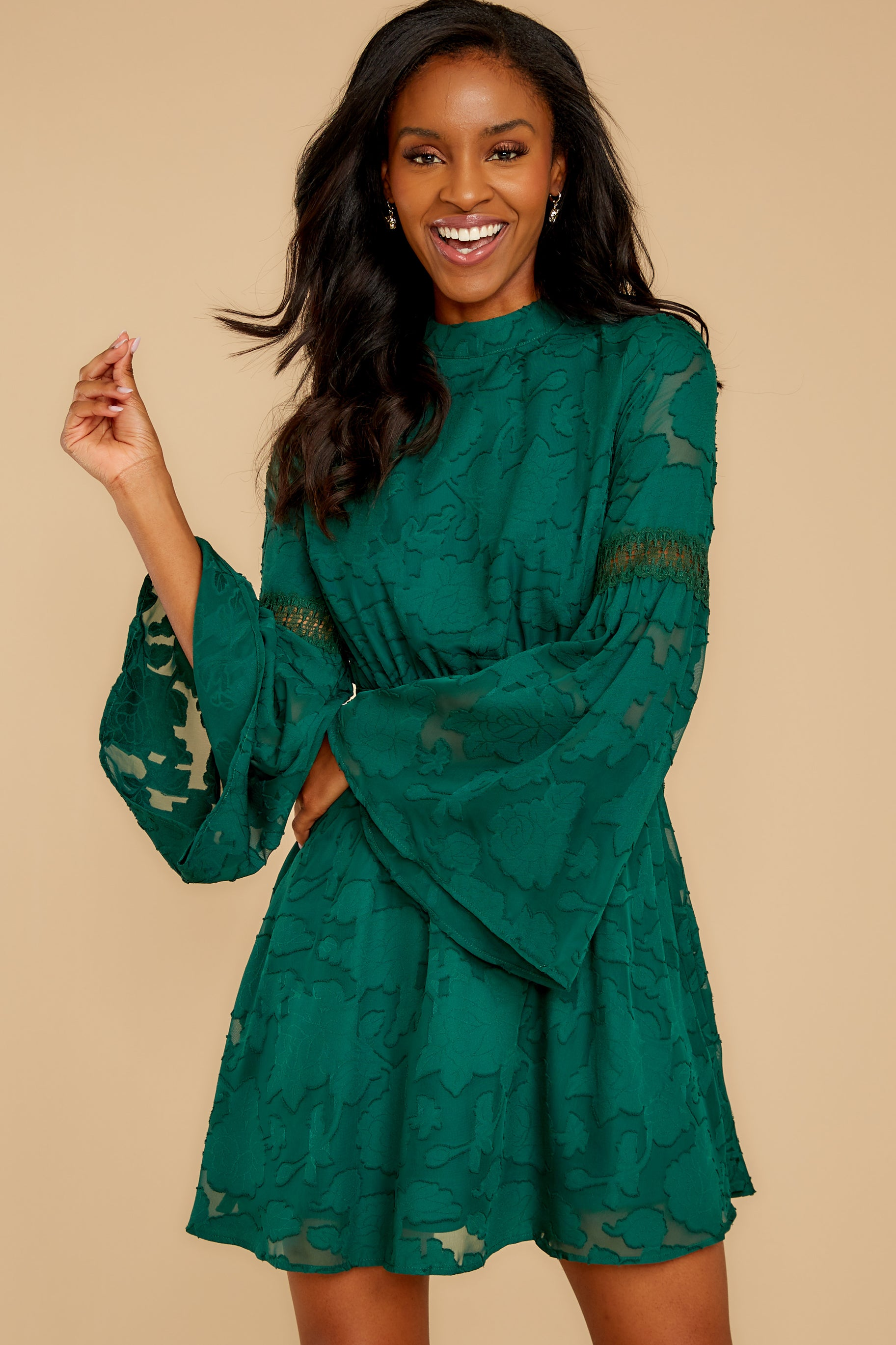 7 Love You More Emerald Green Lace Dress at reddressboutique.com