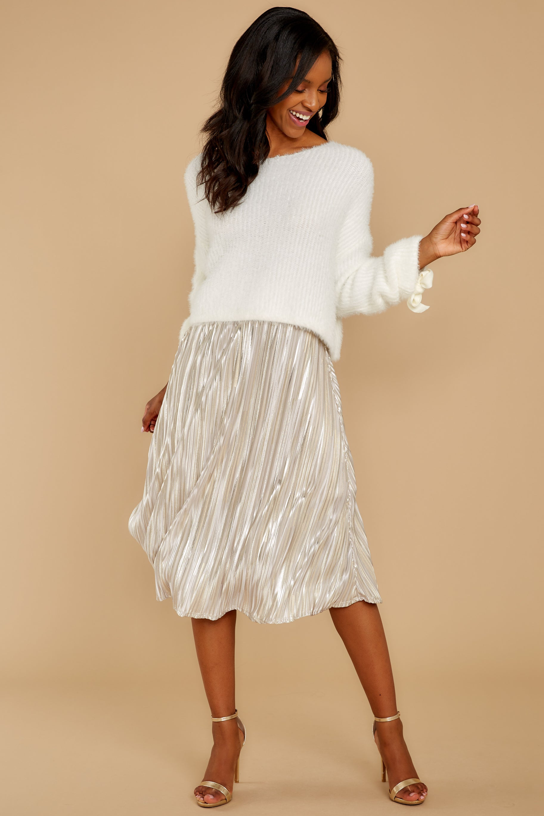 8 A Thing For You Champagne Midi Skirt at reddress.com