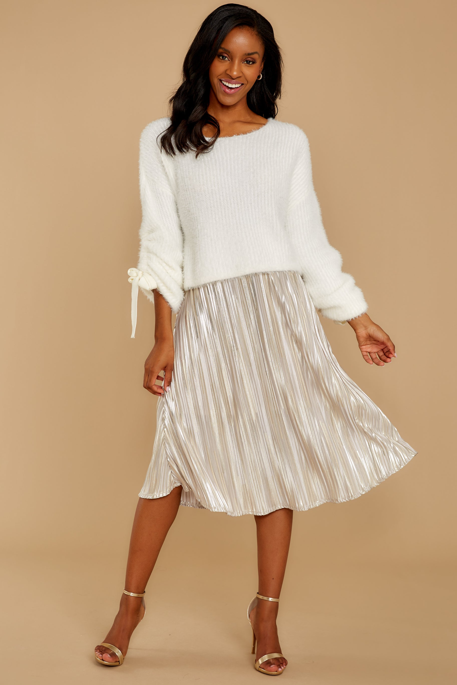 10 A Thing For You Champagne Midi Skirt at reddress.com