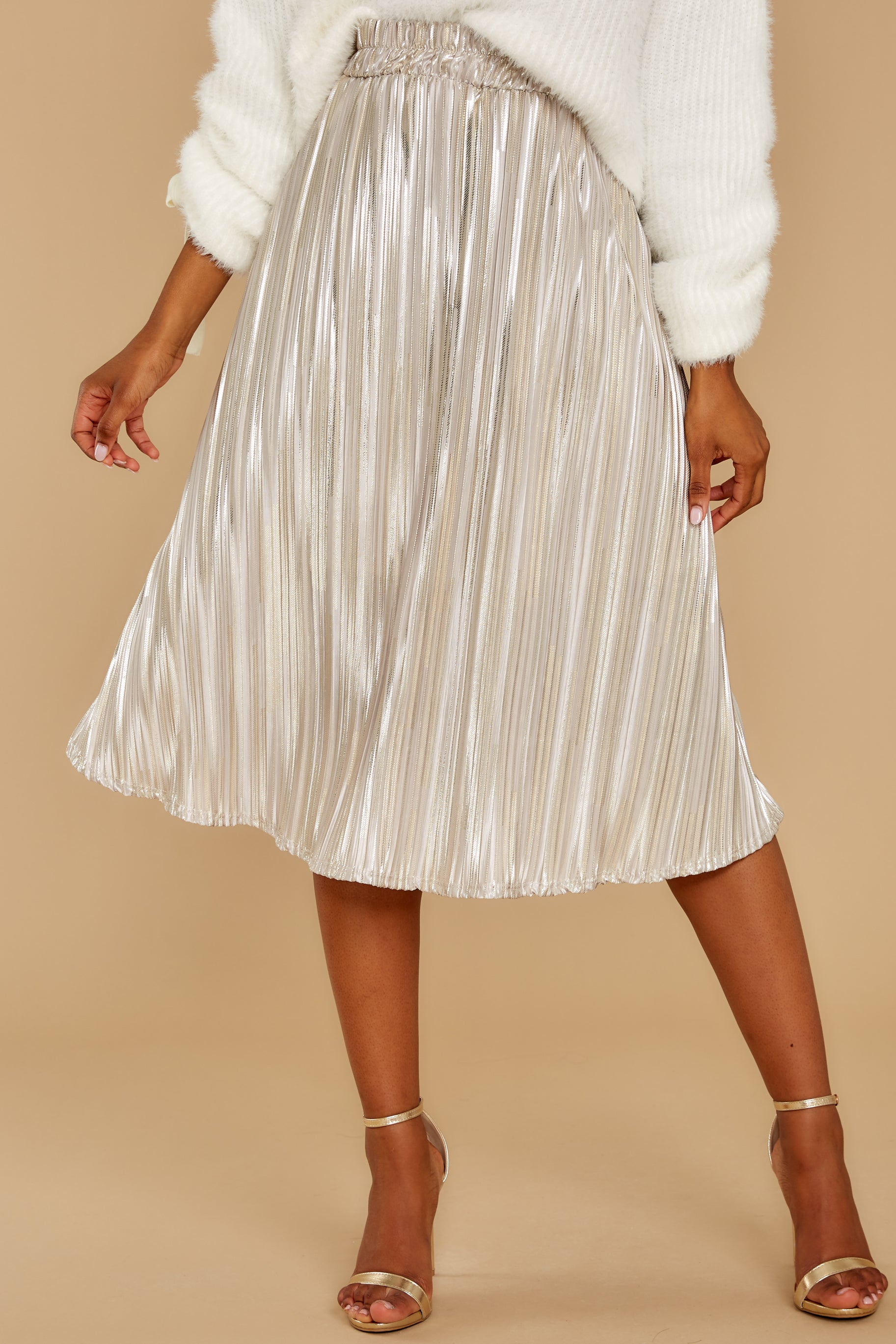 5 A Thing For You Champagne Midi Skirt at reddress.com