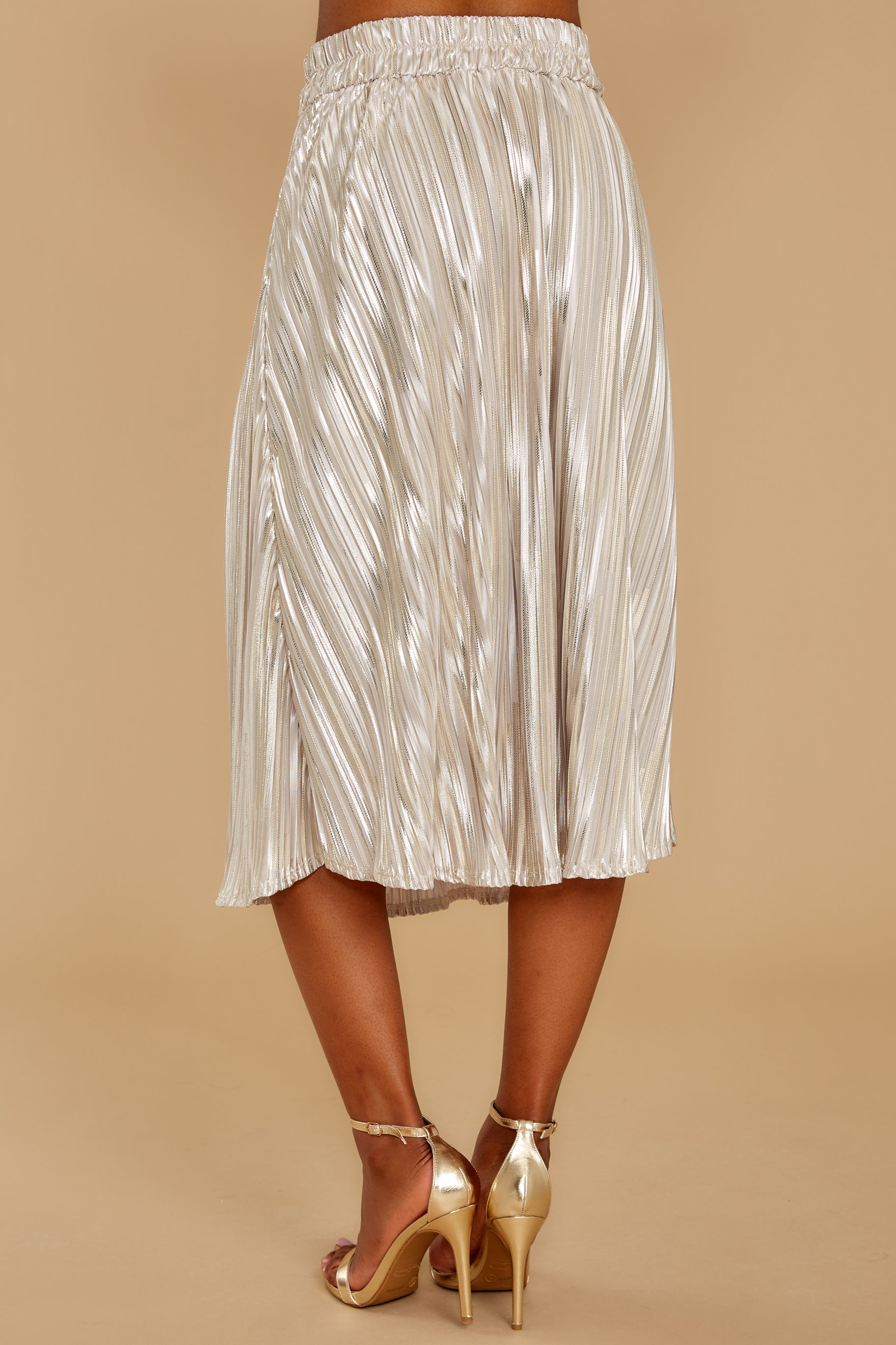 7 A Thing For You Champagne Midi Skirt at reddress.com