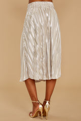 7 A Thing For You Champagne Midi Skirt at reddressboutique.com