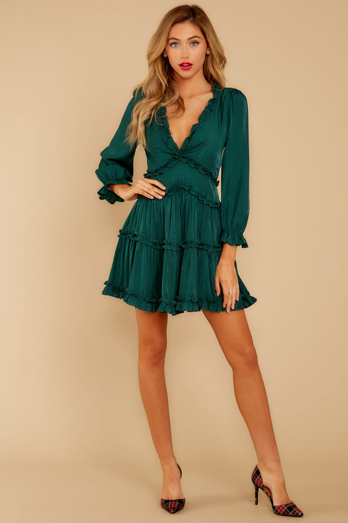 1 How We Met Green Print Dress at reddressboutique.com