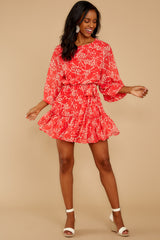 1 All Fleur You Red Print Dress at reddressboutique.com