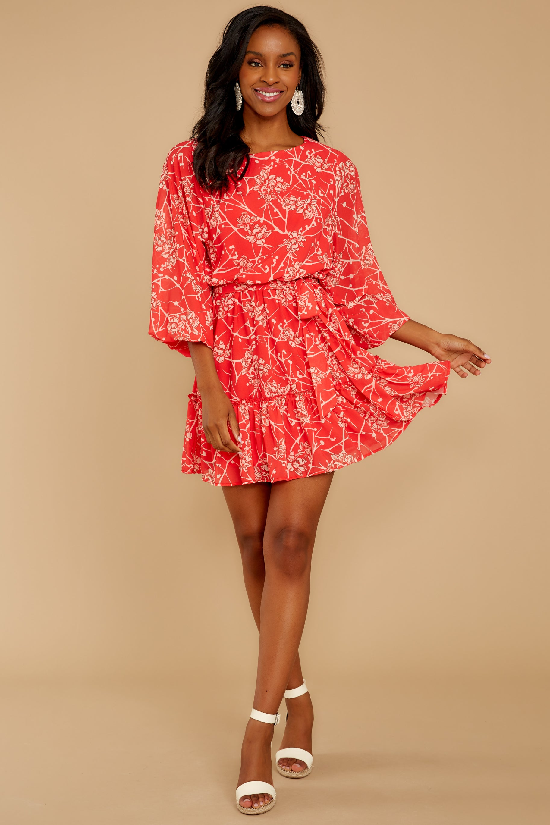 3 All Fleur You Red Print Dress at reddressboutique.com
