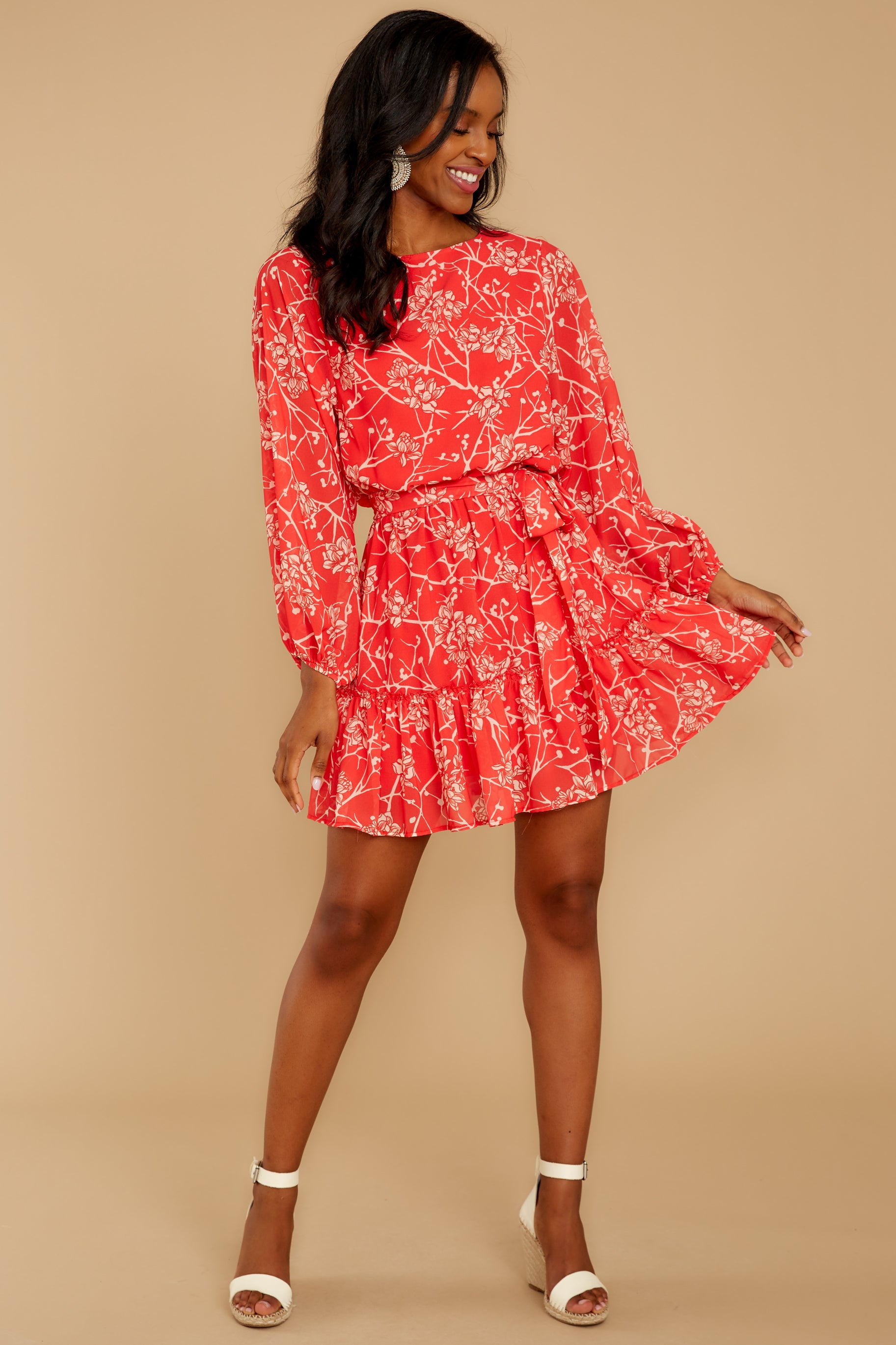 4 All Fleur You Red Print Dress at reddressboutique.com