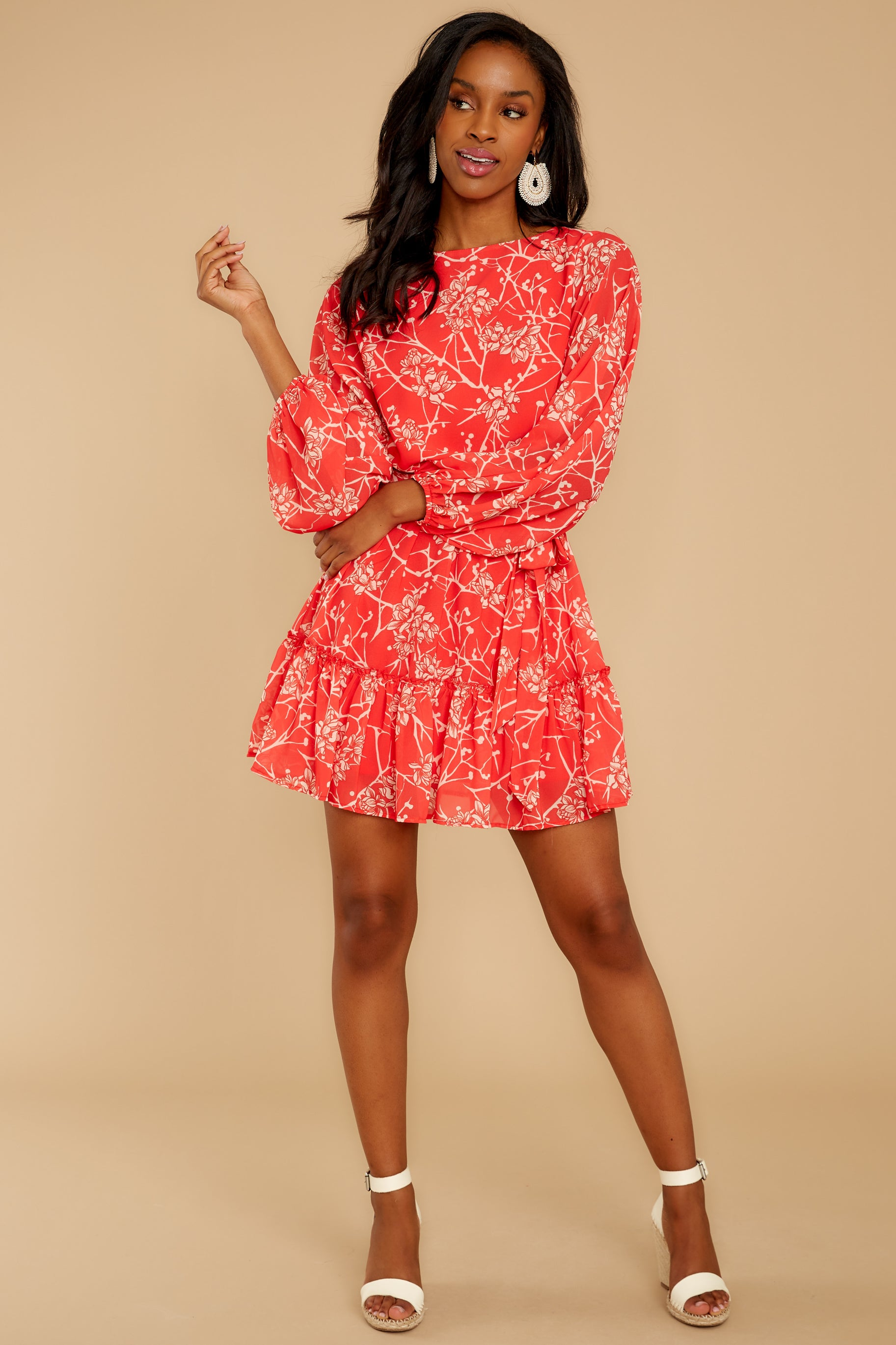 2 All Fleur You Red Print Dress at reddressboutique.com