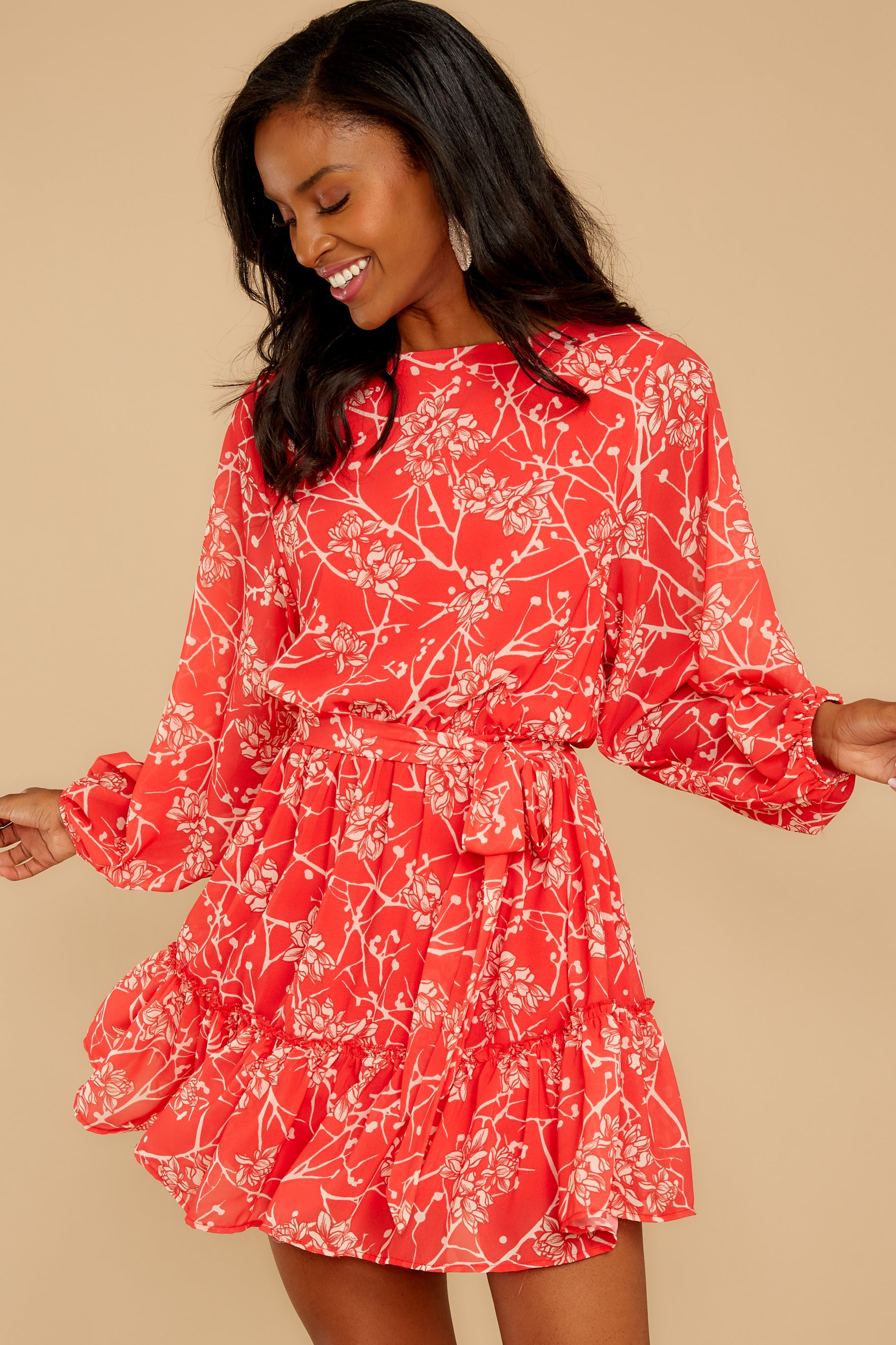 6 All Fleur You Red Print Dress at reddressboutique.com