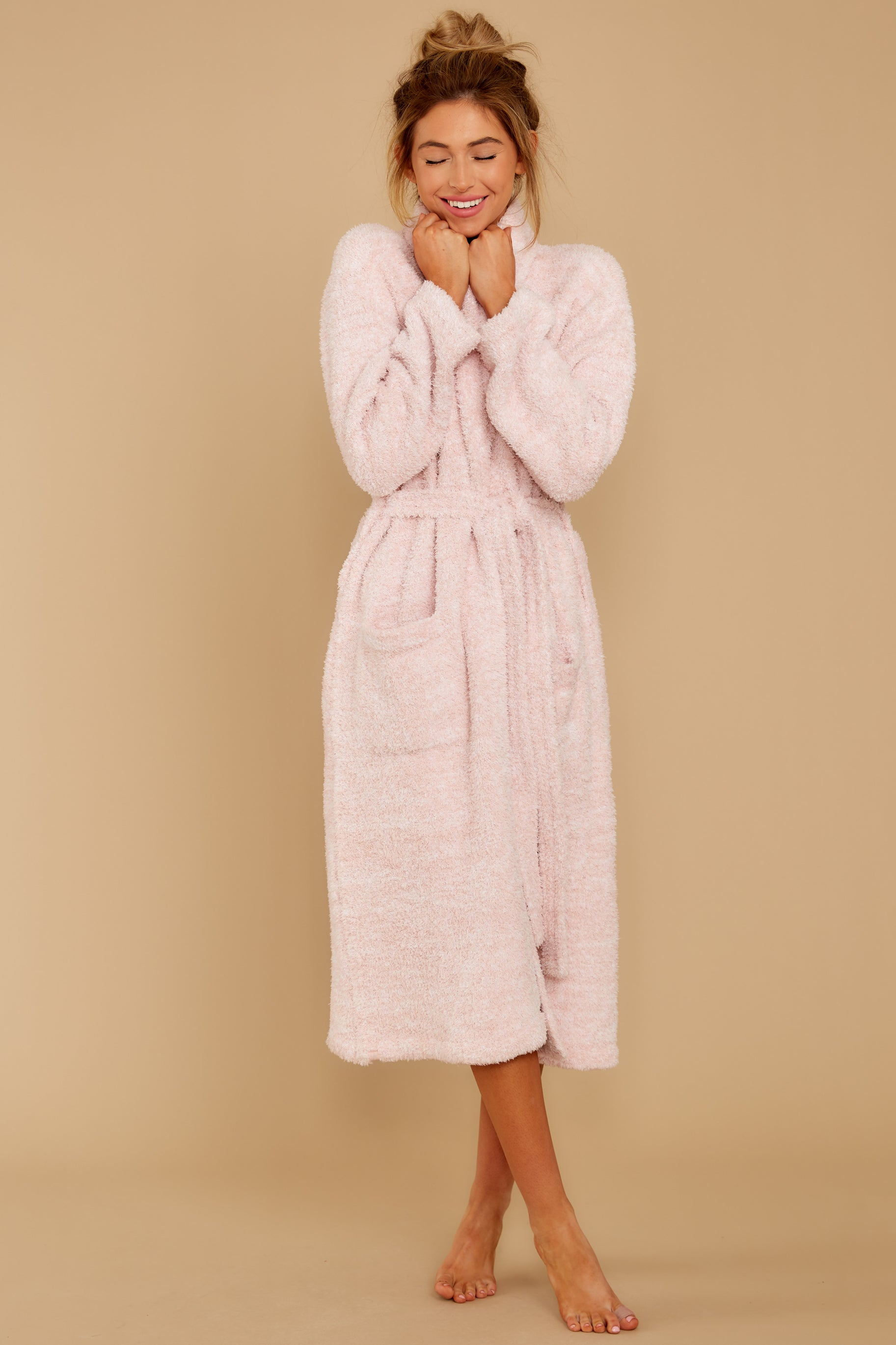 4 CozyChic® Heathered Dusty Rose Adult Robe at reddressboutique.com