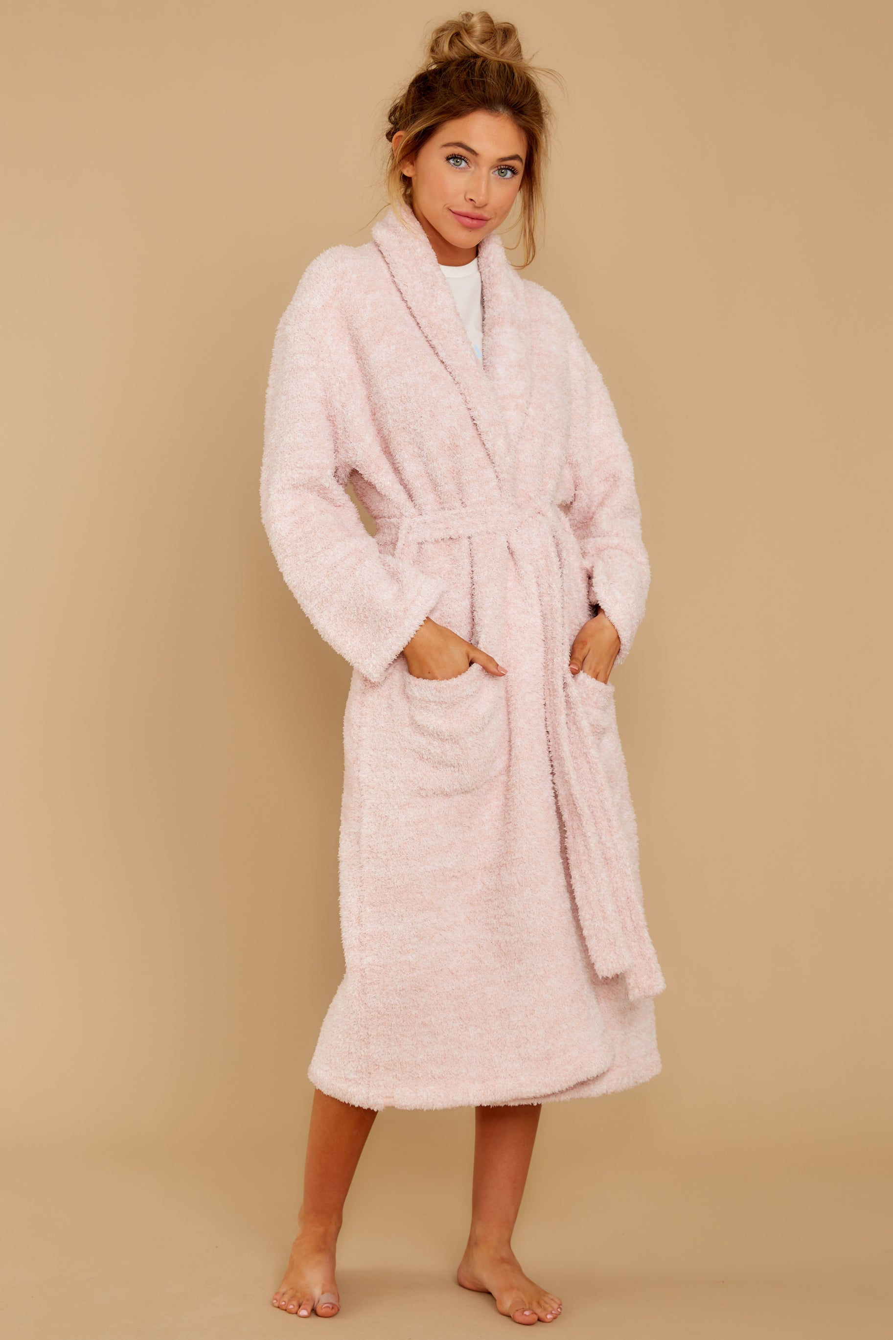 5 CozyChic® Heathered Dusty Rose Adult Robe at reddressboutique.com