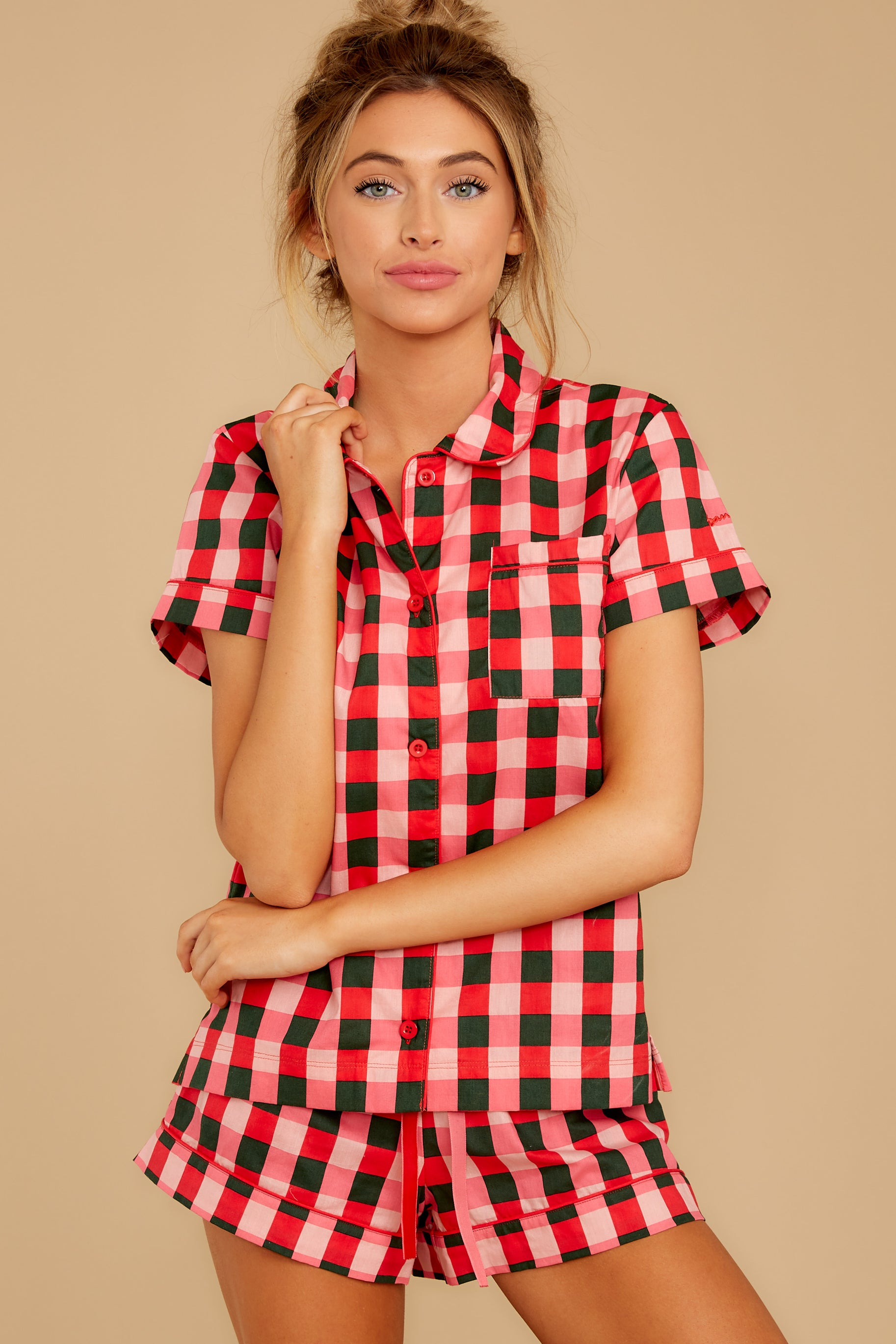 5 Buffalo Plaid Leisure Shirt at reddressboutique.com