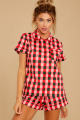 6 Buffalo Plaid Leisure Shirt at reddressboutique.com