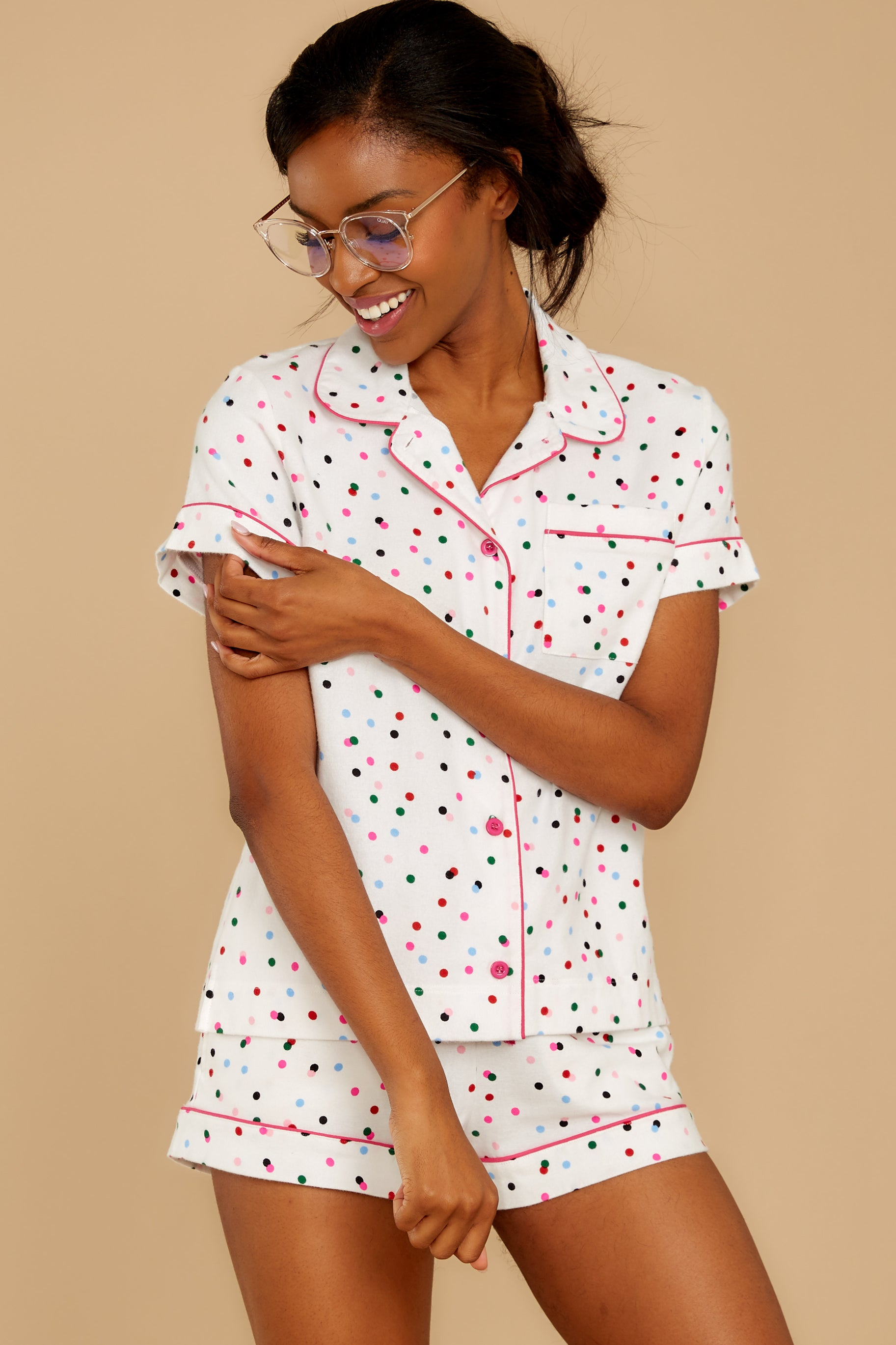 8 Party Dots Leisure Shirt at reddressboutique.com