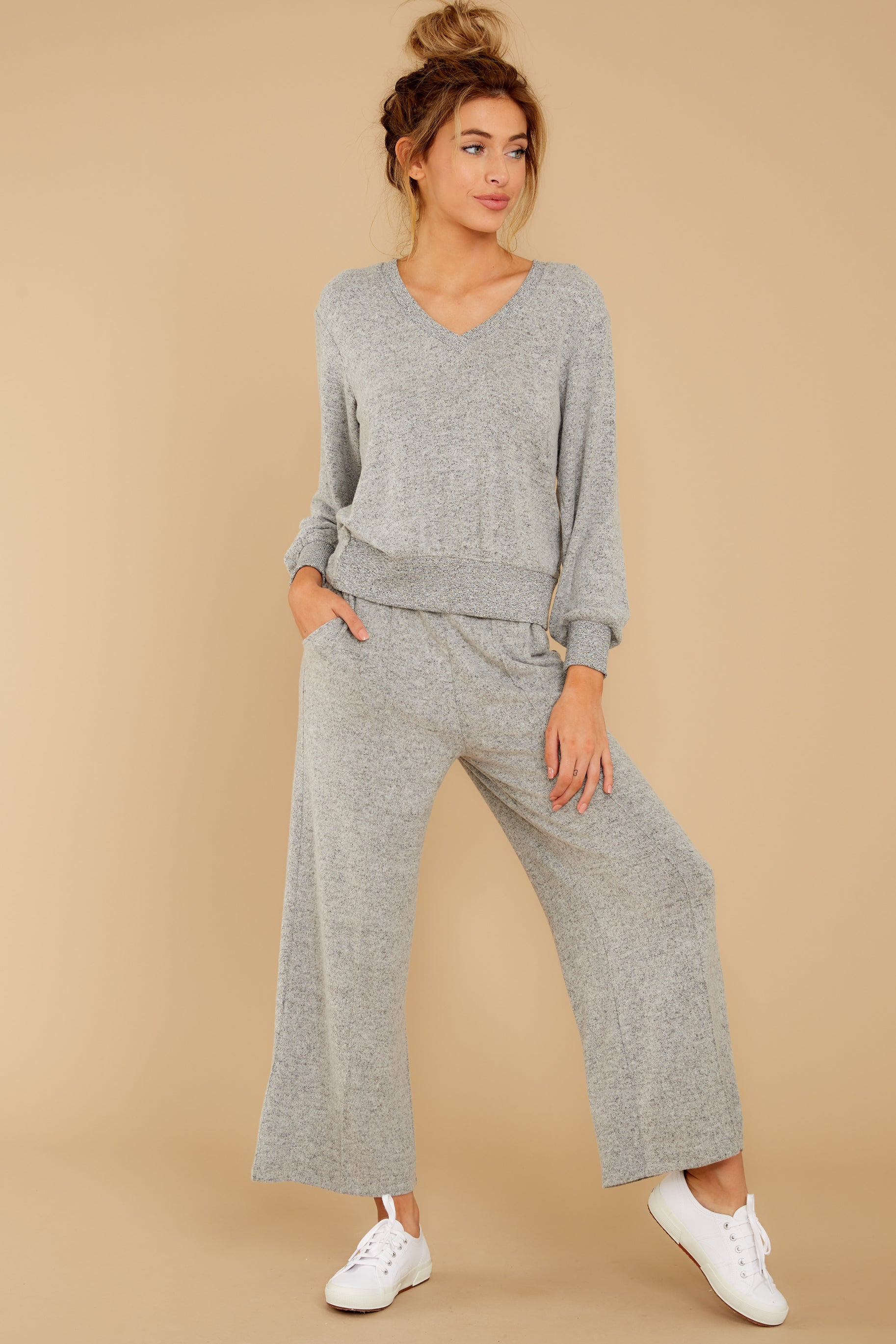 6 The Heather Grey Marled Wide Leg Pant at reddress.com