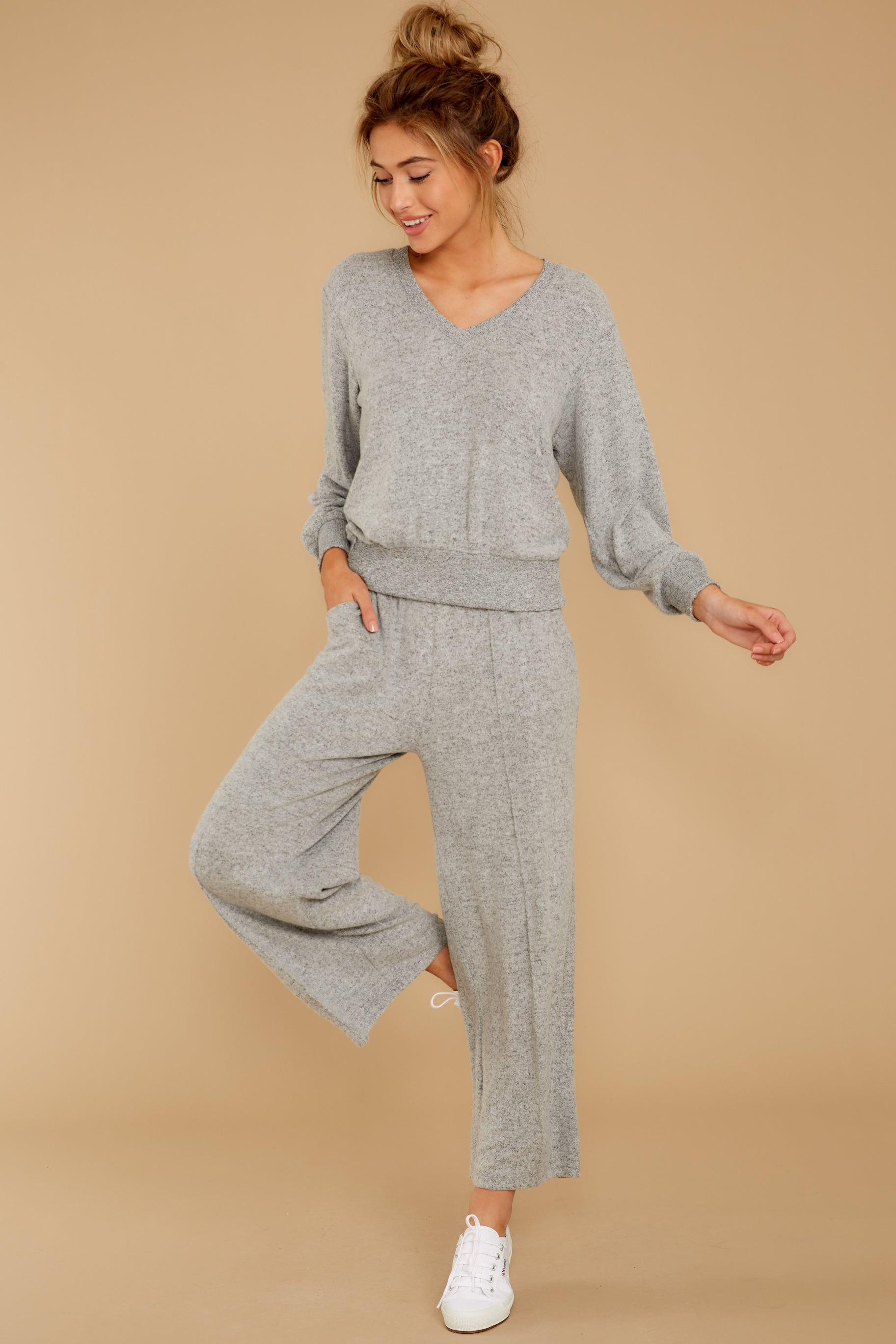 5 The Heather Grey Marled Wide Leg Pant at reddress.com