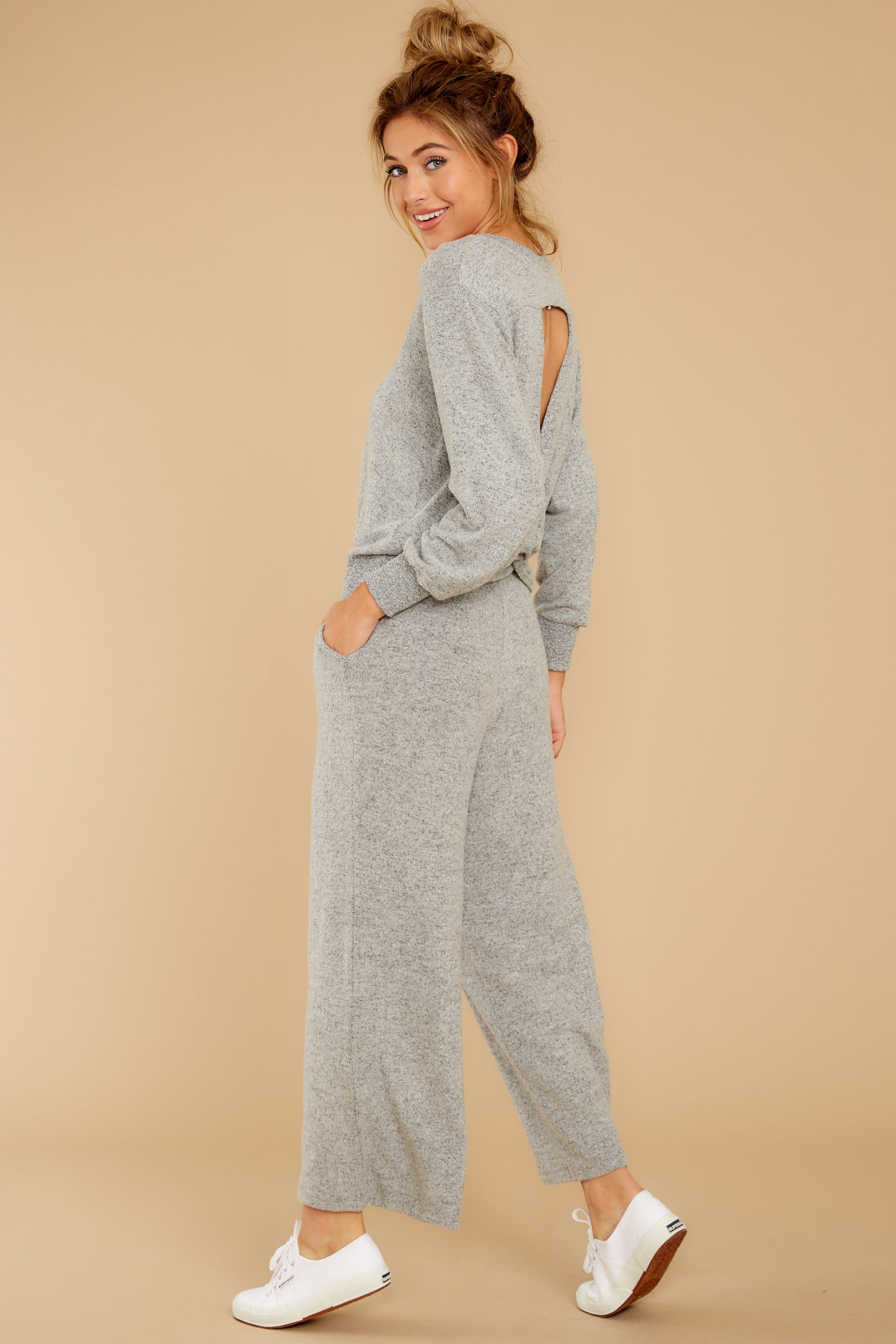 7 The Heather Grey Marled Wide Leg Pant at reddress.com