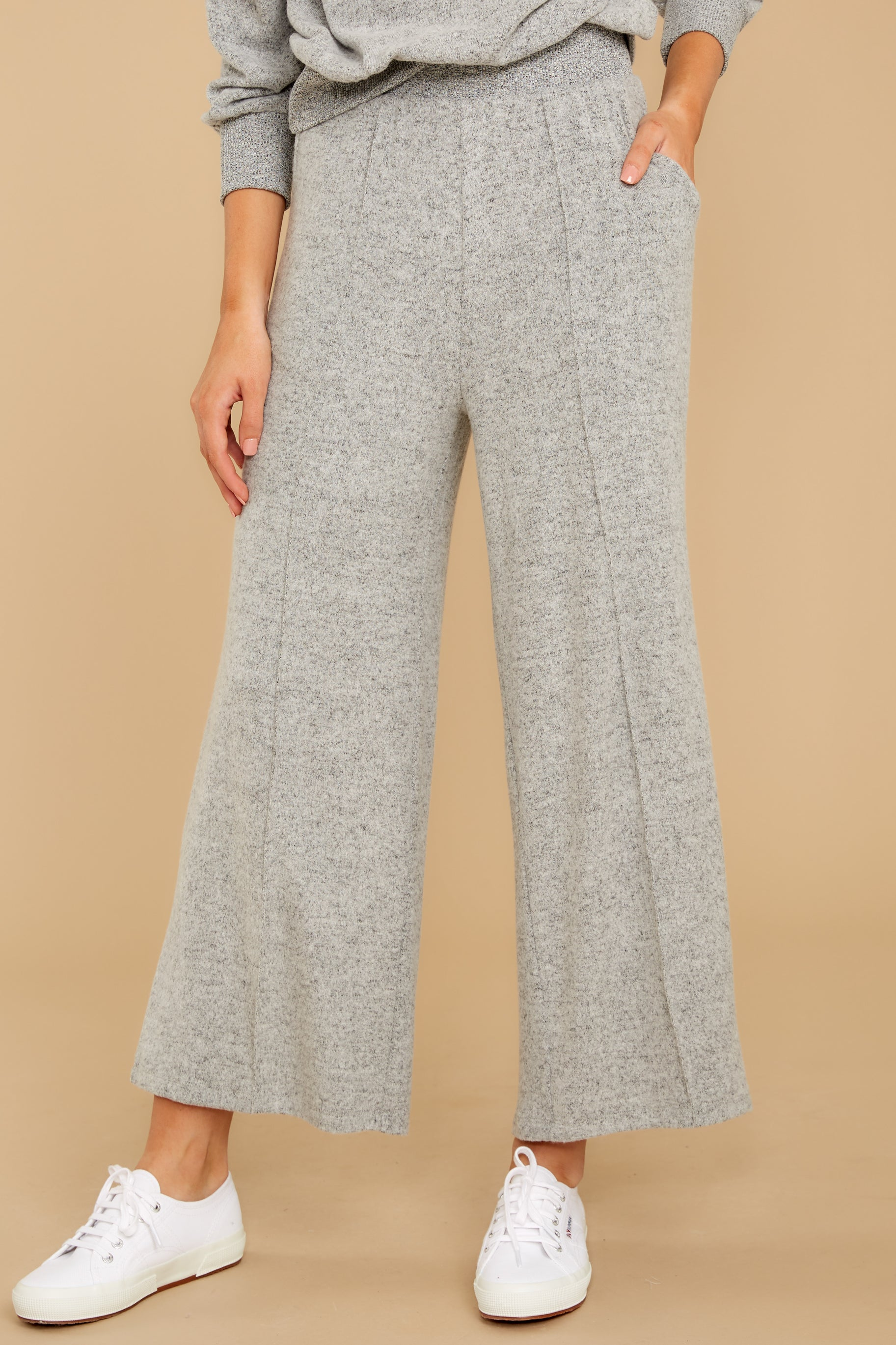 1 The Heather Grey Marled Wide Leg Pant at reddress.com
