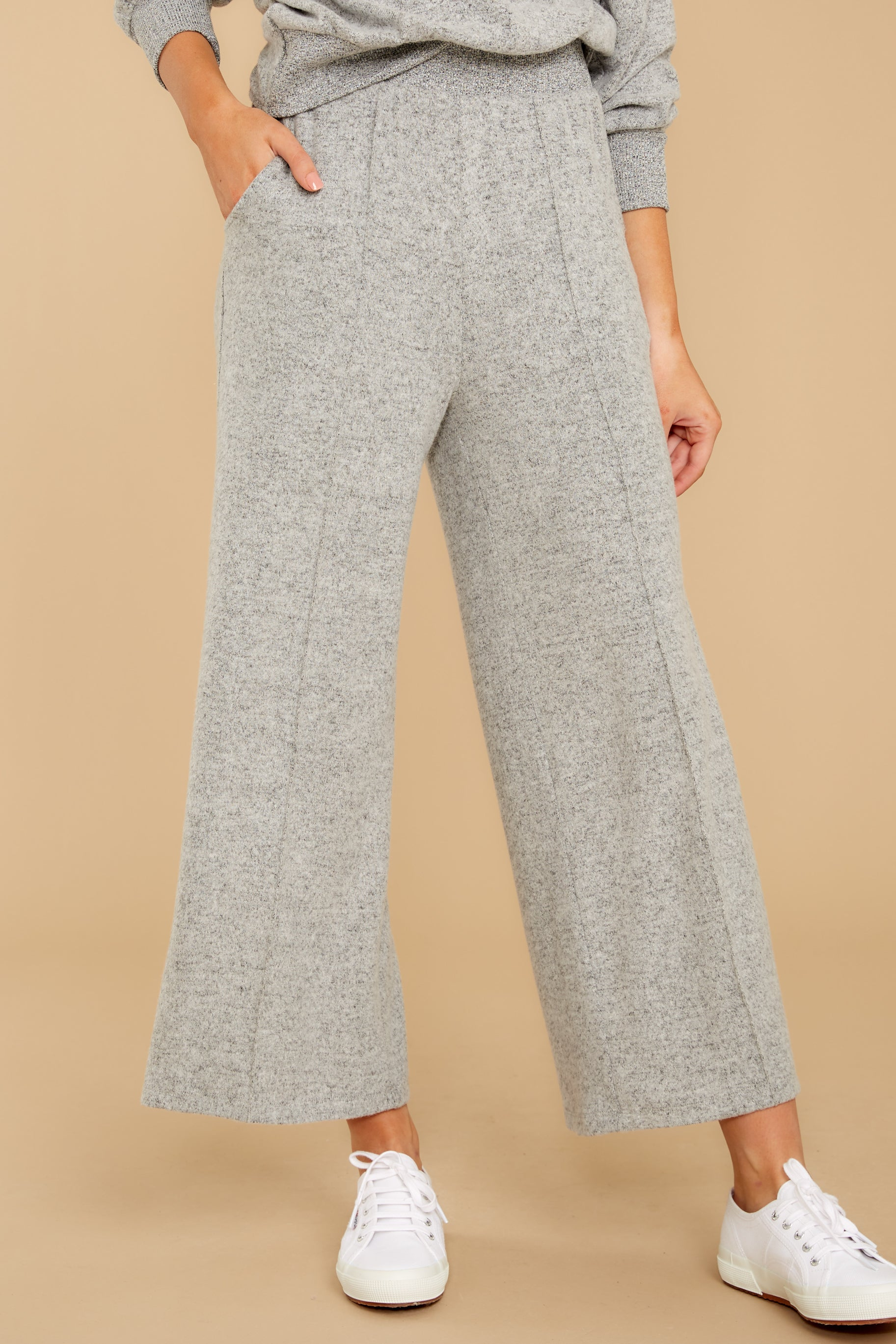 2 The Heather Grey Marled Wide Leg Pant at reddress.com