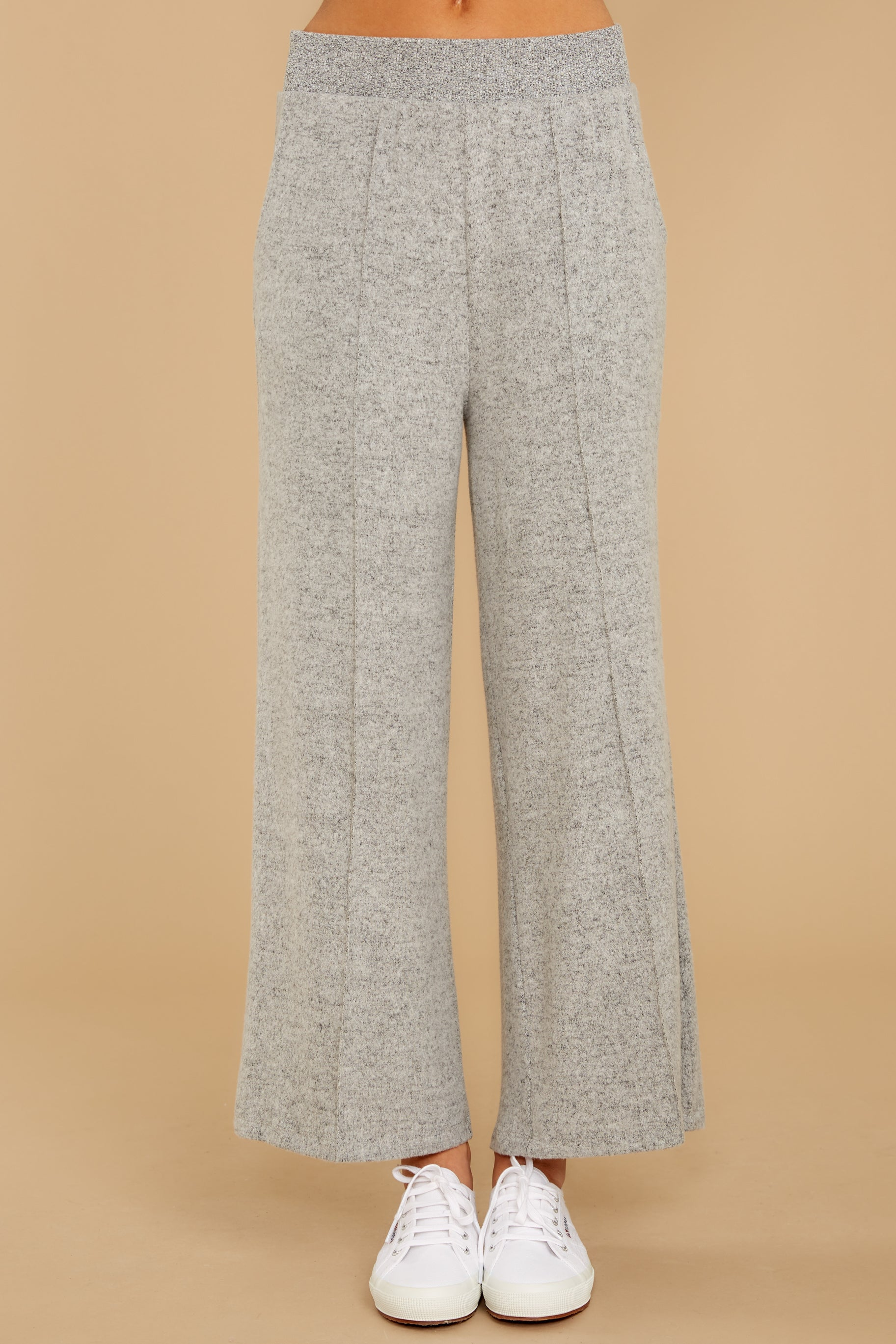 3 The Heather Grey Marled Wide Leg Pant at reddress.com