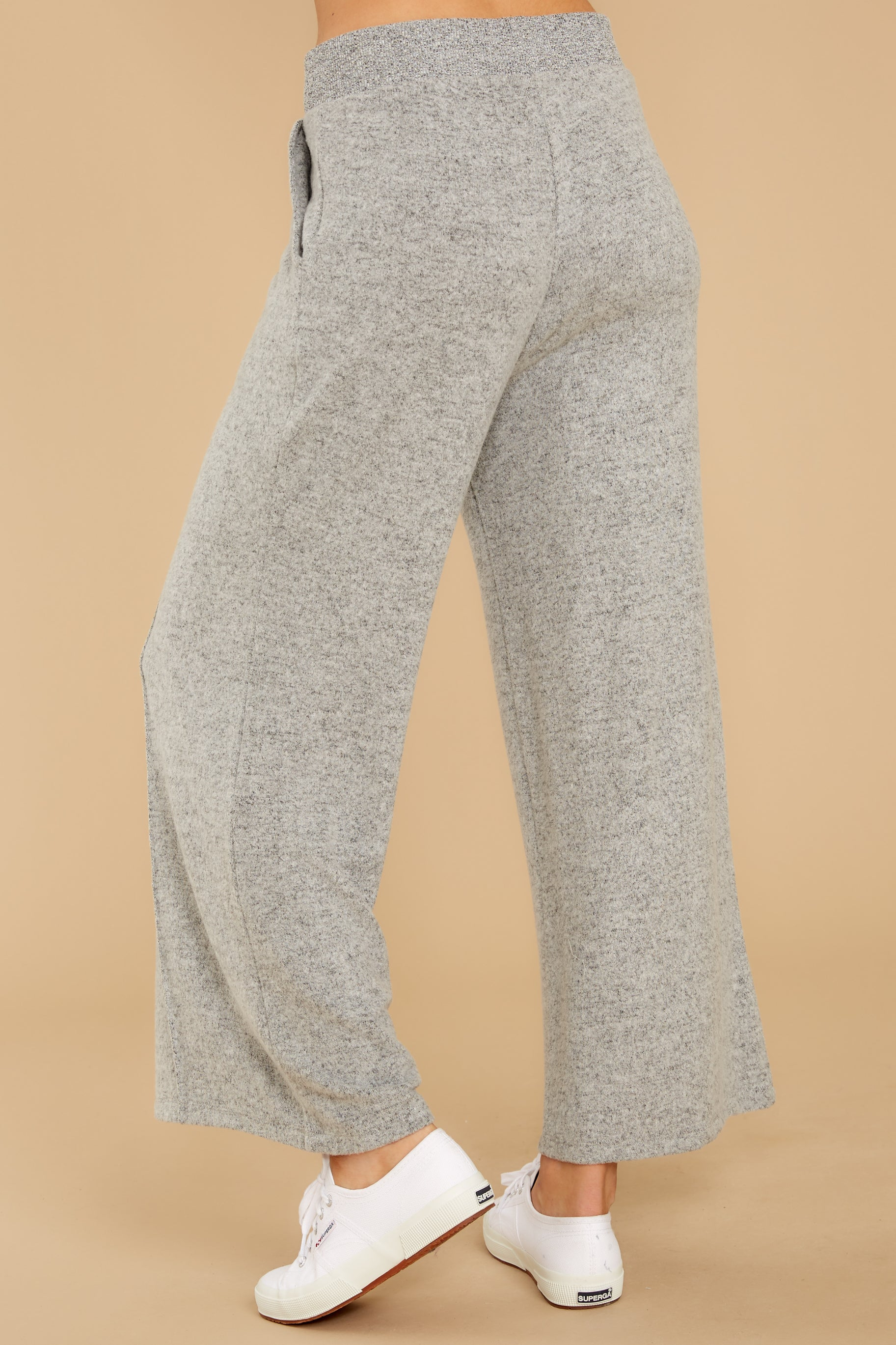 4 The Heather Grey Marled Wide Leg Pant at reddress.com