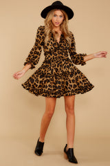 4 Love Is Automatic Brown Leopard Print Dress at reddressboutique.com