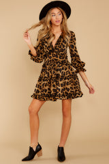 3 Love Is Automatic Brown Leopard Print Dress at reddressboutique.com
