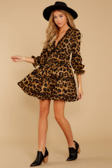 1 Love Is Automatic Brown Leopard Print Dress at reddressboutique.com