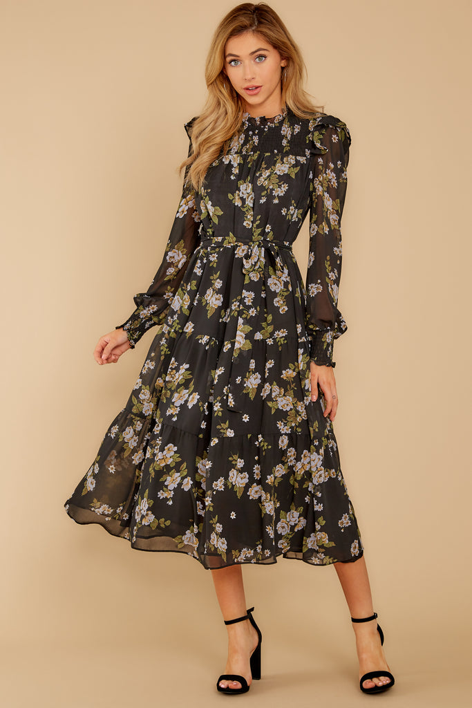 1 Who Is She Black Floral Print Dress at reddressboutique.com