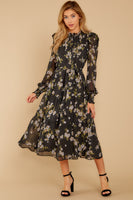 Collared Floral Print Shirred Belted Sheer Gathered Long Sleeves Polyester Midi Dress With Ruffles