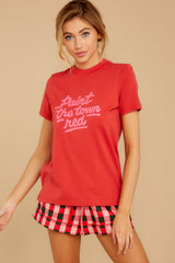8 Paint The Town Red Retro Tee at reddressboutique.com