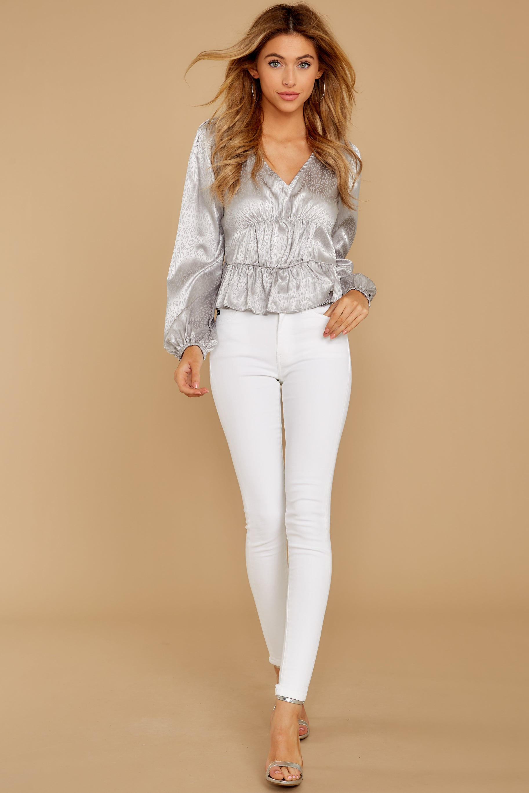 1 Have You Heard Silver Leopard Print Top at reddress.com