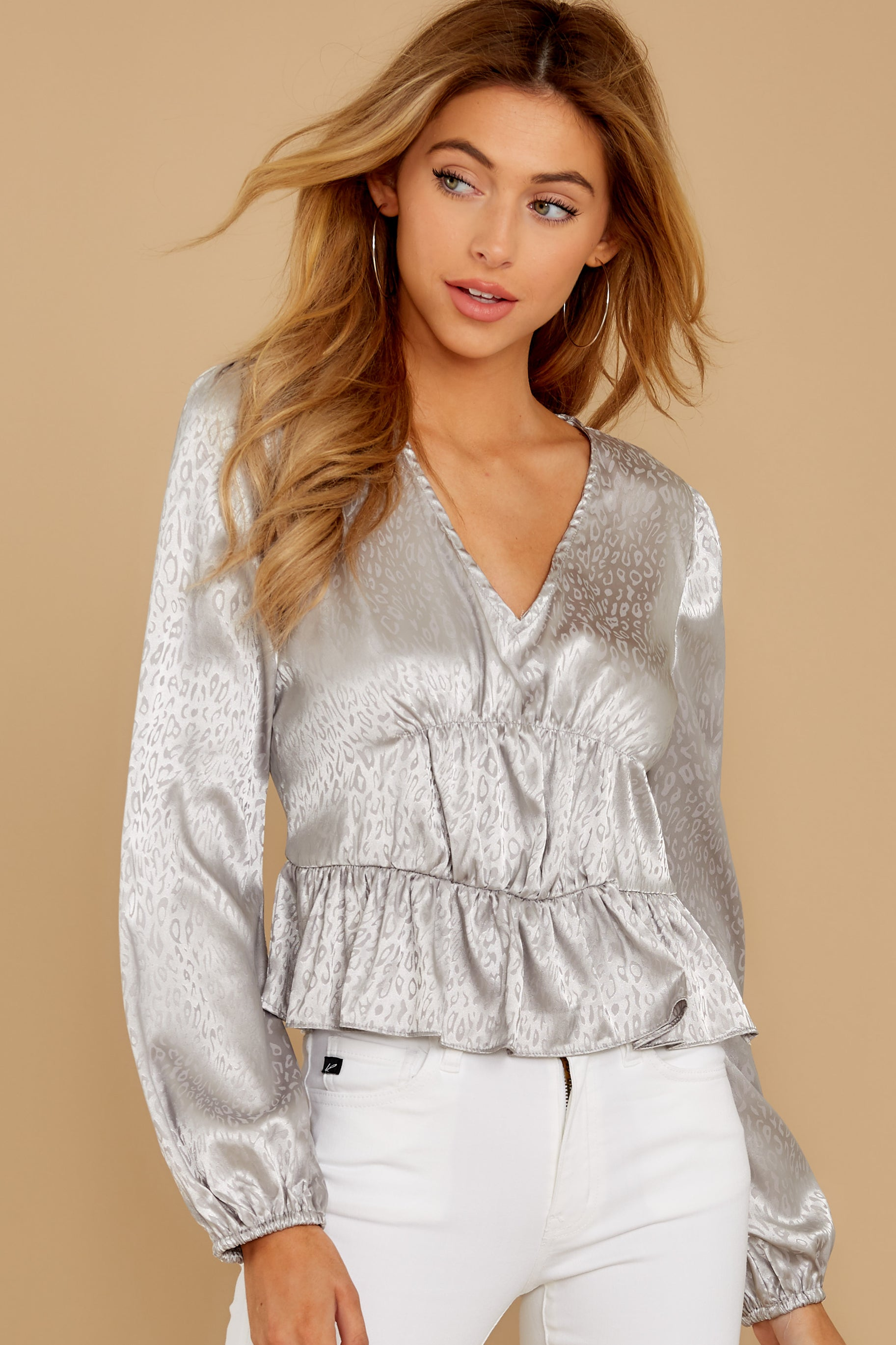 7 Have You Heard Silver Leopard Print Top at reddress.com