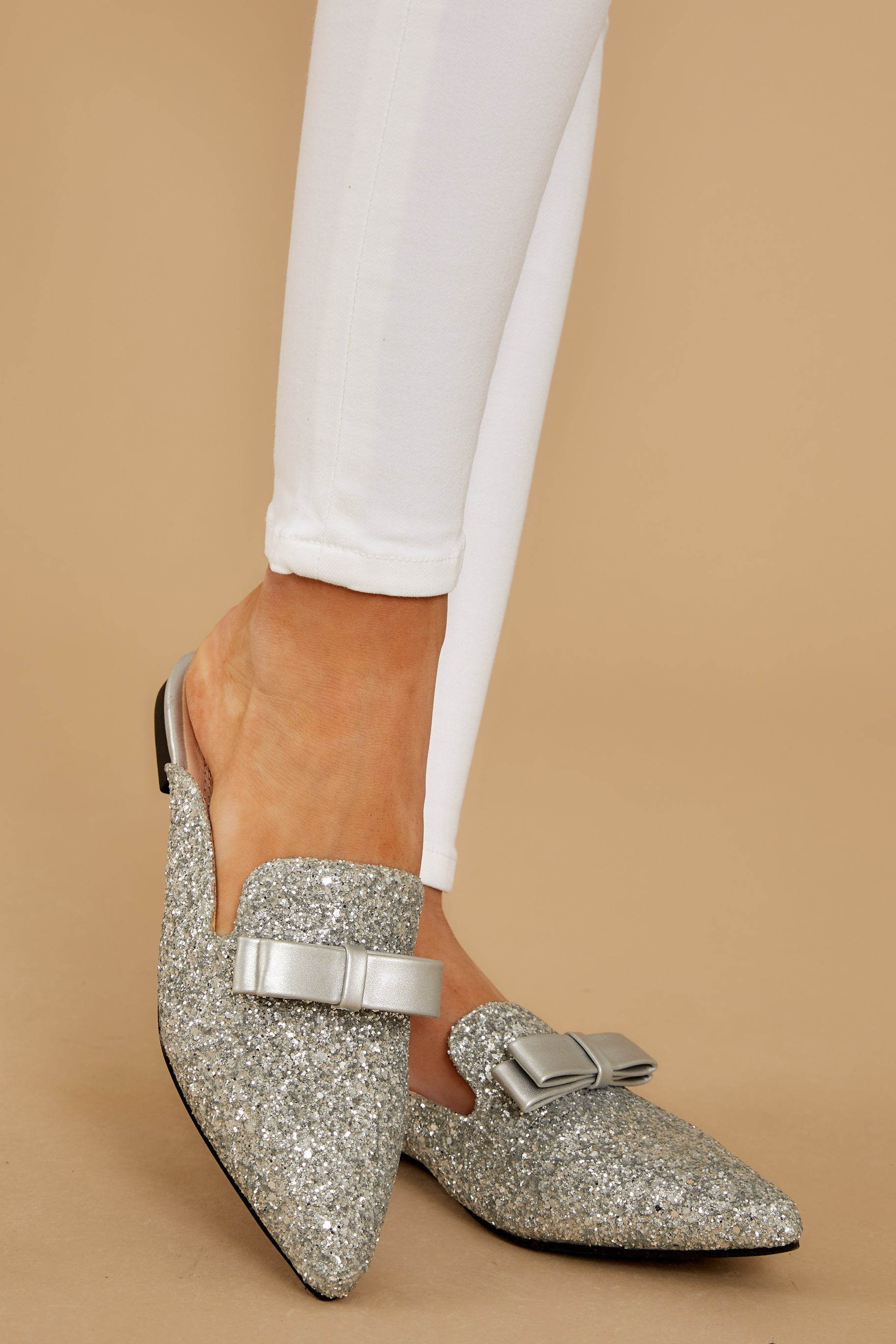 2 Must Be Magic Silver Glitter Mules at reddress.com