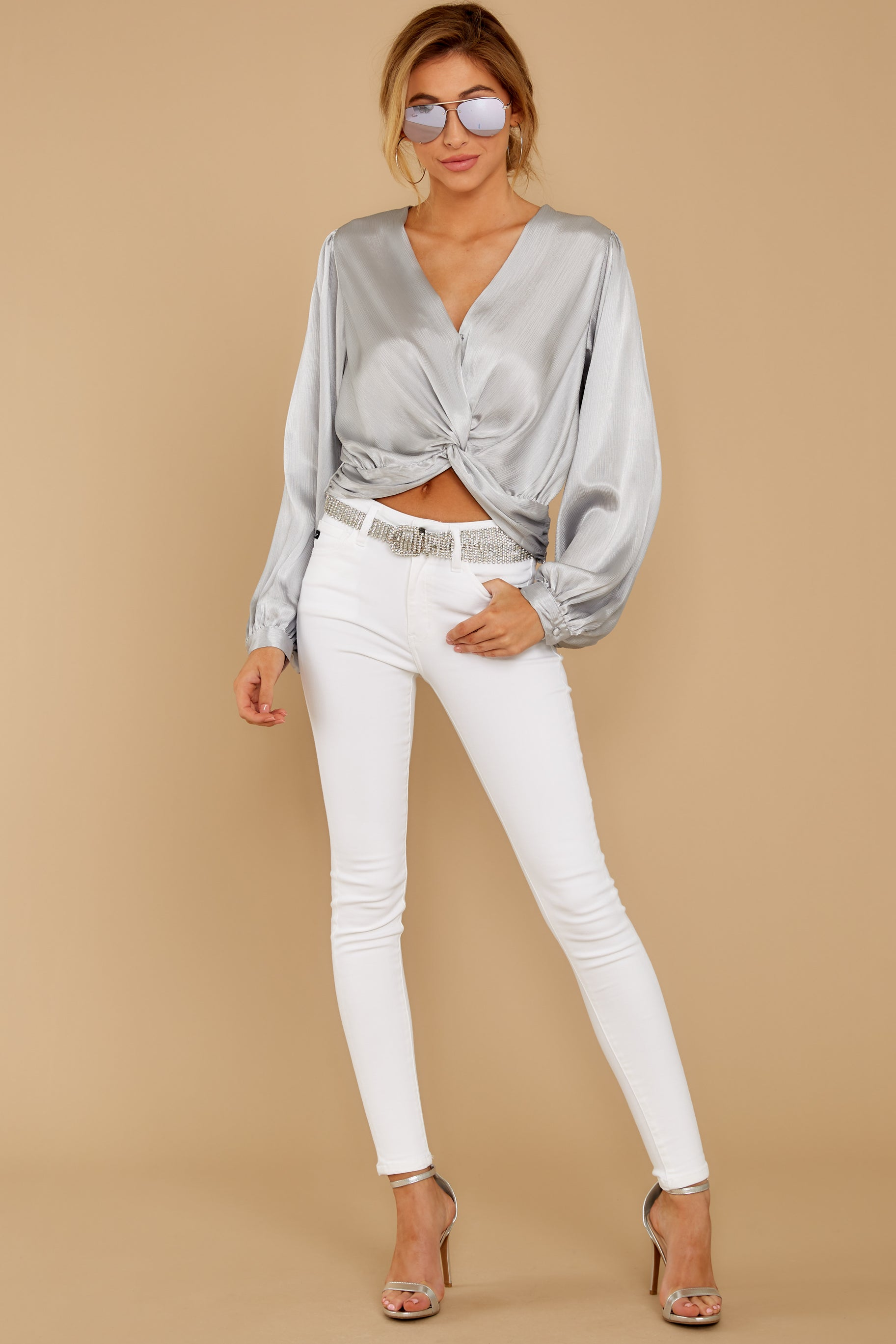 1 Drinks On Me Silver Top at reddressboutique.com